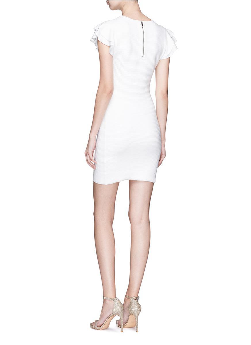 0159efc1d6d Lyst - Alice + Olivia  kellin  Ruffle Sleeve Knit Dress in White