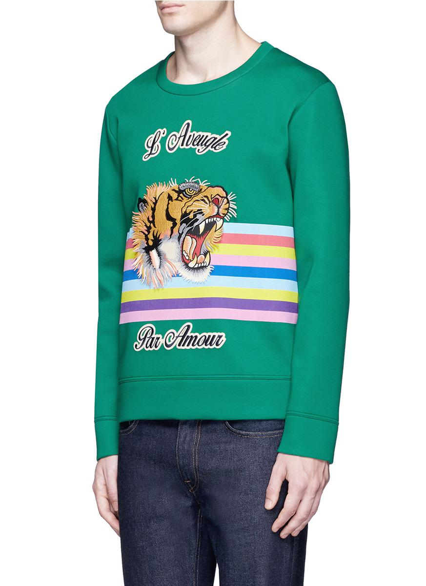 760bb7e8233 Lyst - Gucci Snoopy And Tiger Print Sweatshirt in Green for Men