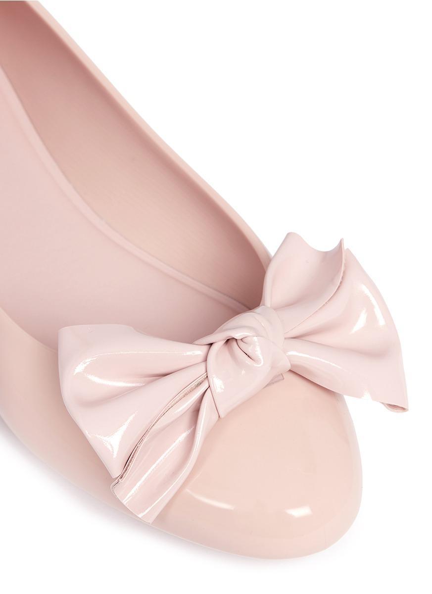ec2ff8b2018 Lyst - Melissa  doll Fem Ii  Bow Pvc Ballerina Flats in Pink