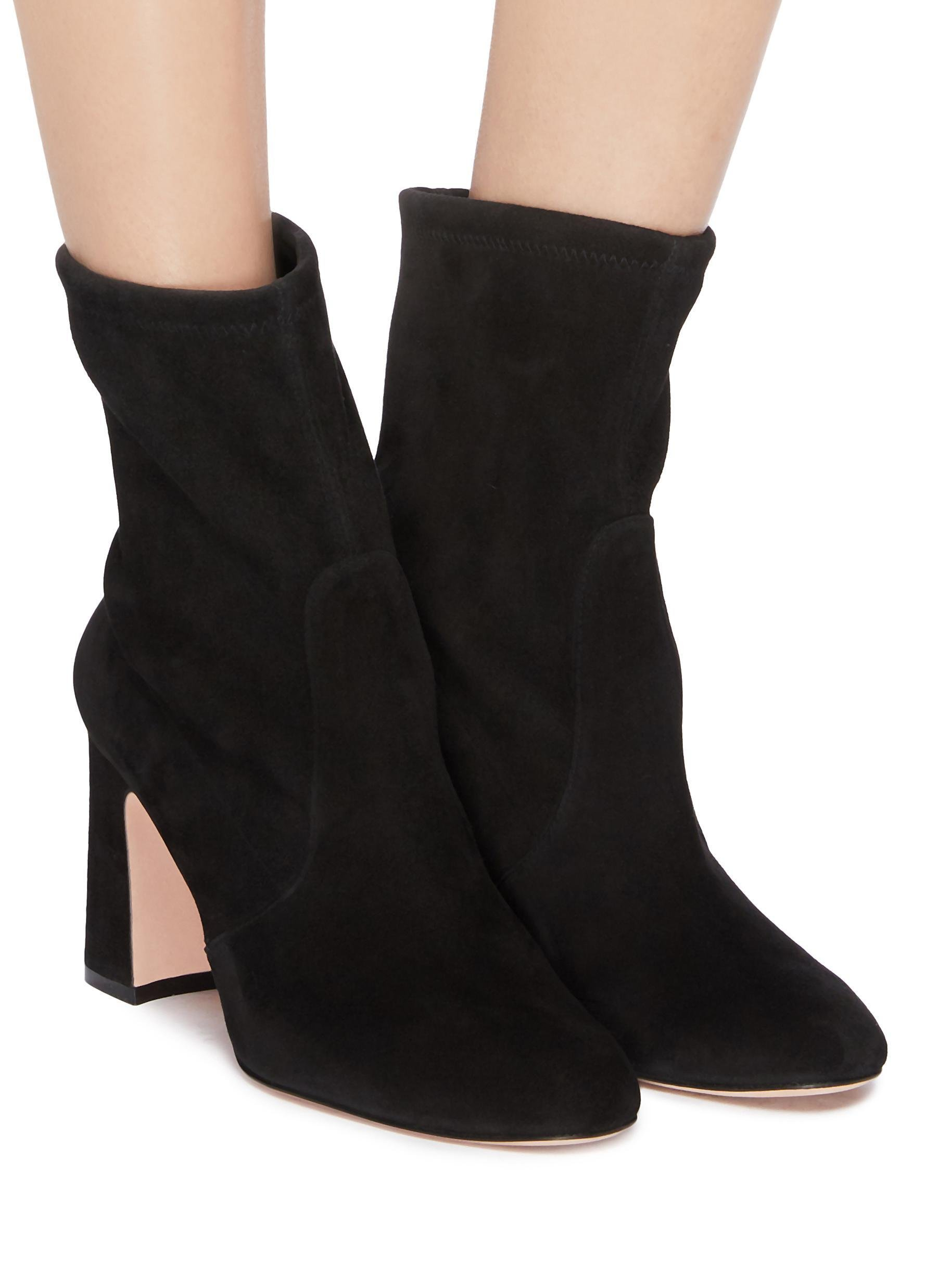 0212f1720d0 Stuart Weitzman - Black  niki  Stretch Suede Ankle Boots - Lyst. View  fullscreen