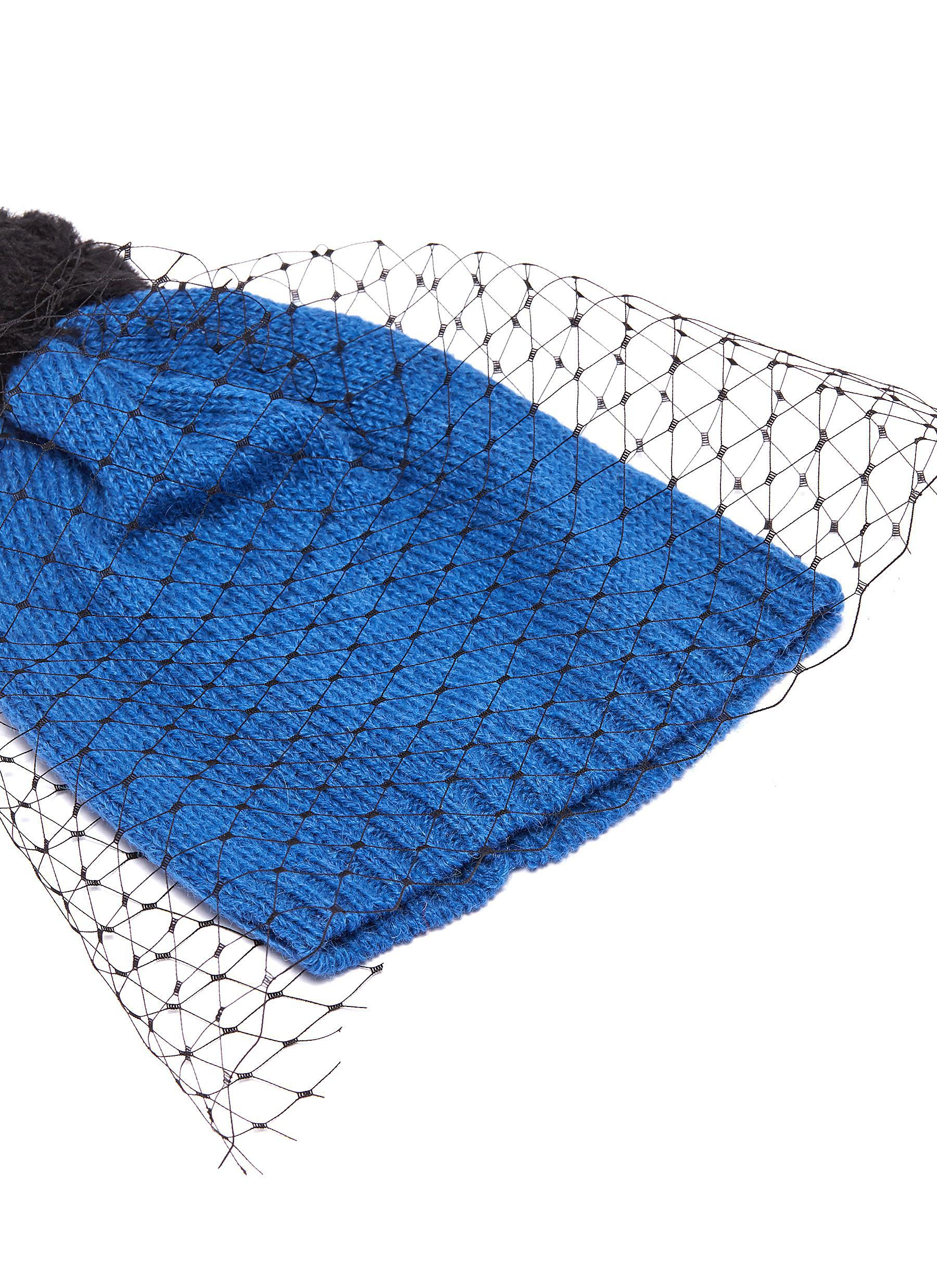 a886af086bb94 Bernstock Speirs - Blue Pompom Veil Knit Beanie for Men - Lyst. View  fullscreen
