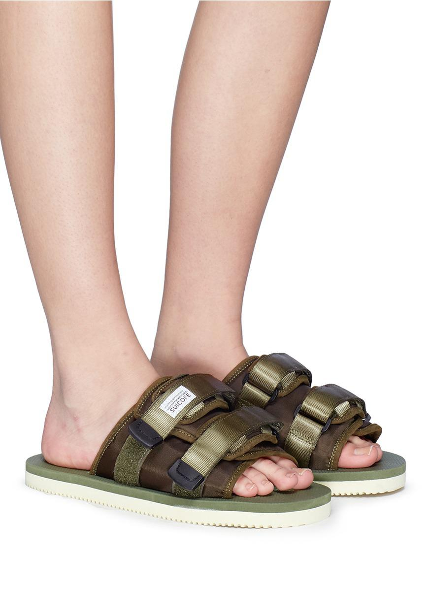 b57ef13a1c60 Lyst - Suicoke  moto-cab  Strappy Band Slide Sandals in Green