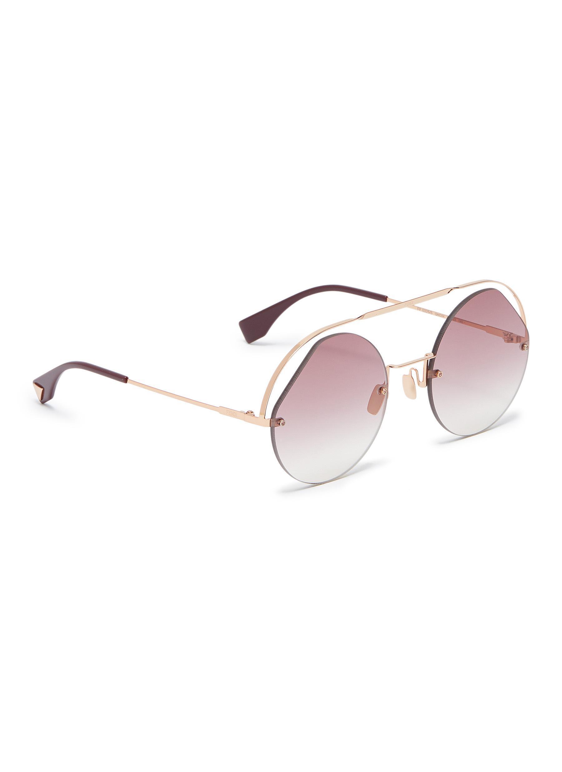 de3f97b181 Fendi - Metallic Metal Browbar Rimless Angular Aviator Sunglasses - Lyst.  View fullscreen