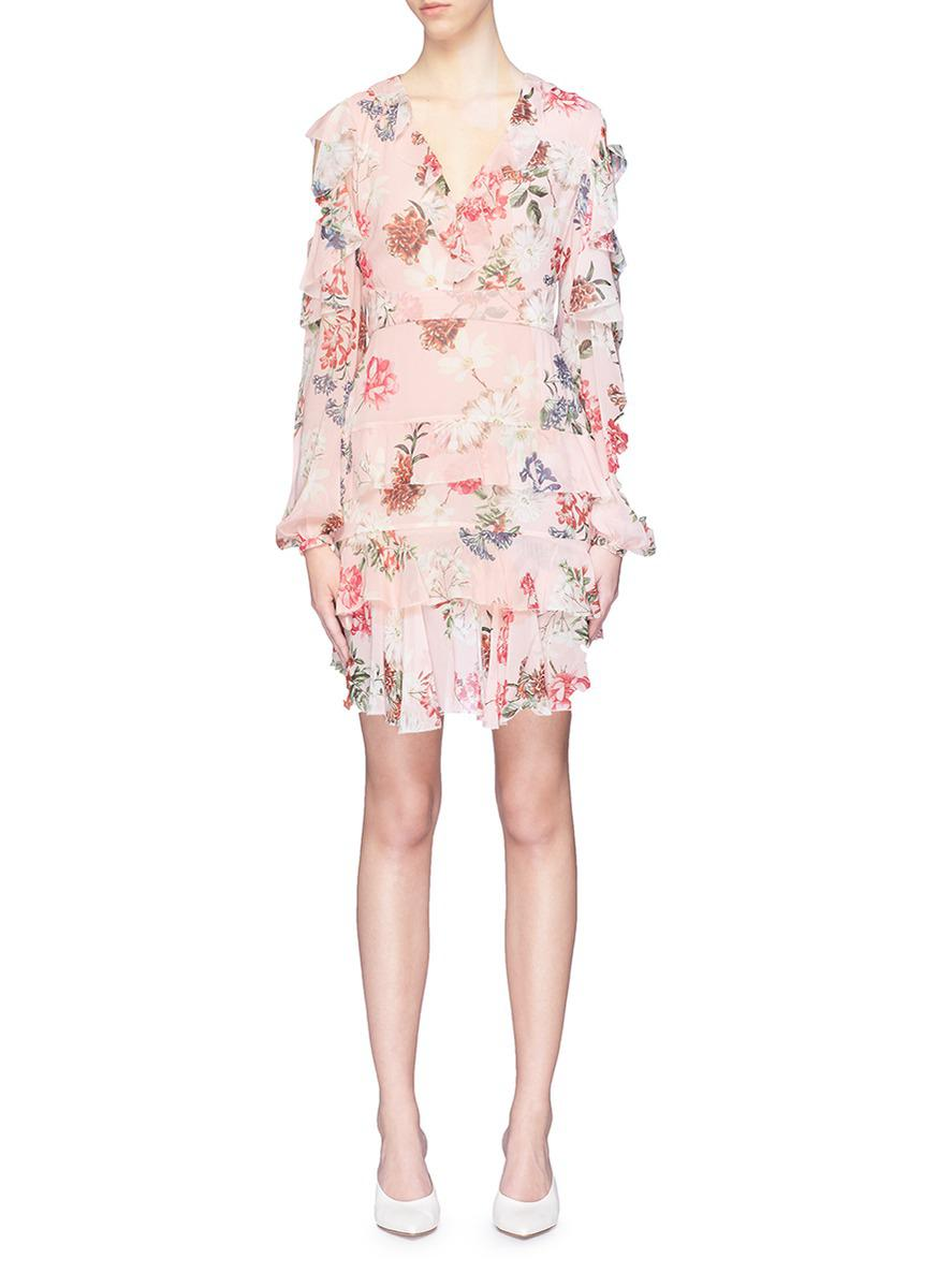 df6768f22af Nicholas 'lilac' Tiered Ruffle Floral Print Silk Georgette Mini ...