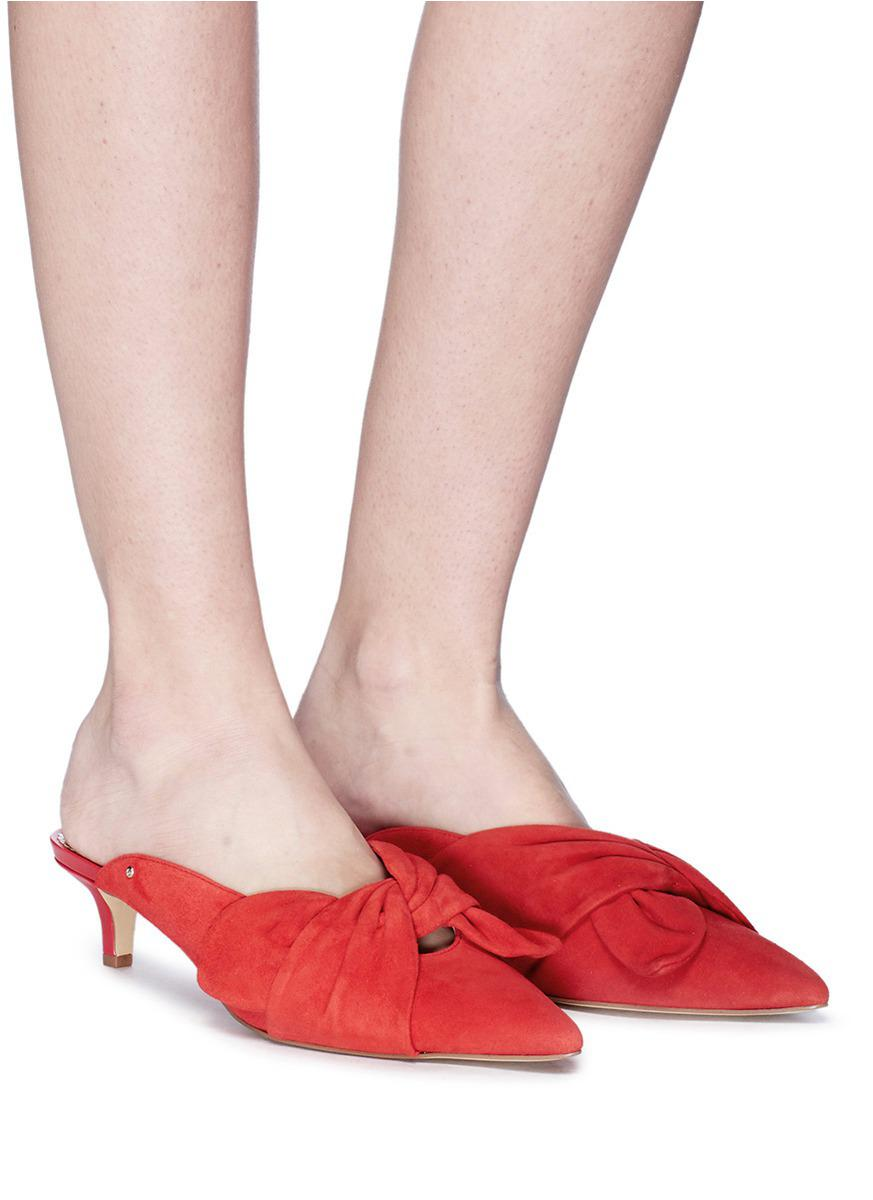 353af51fe9b44f Sam Edelman  laney  Knotted Suede Mules in Red - Lyst