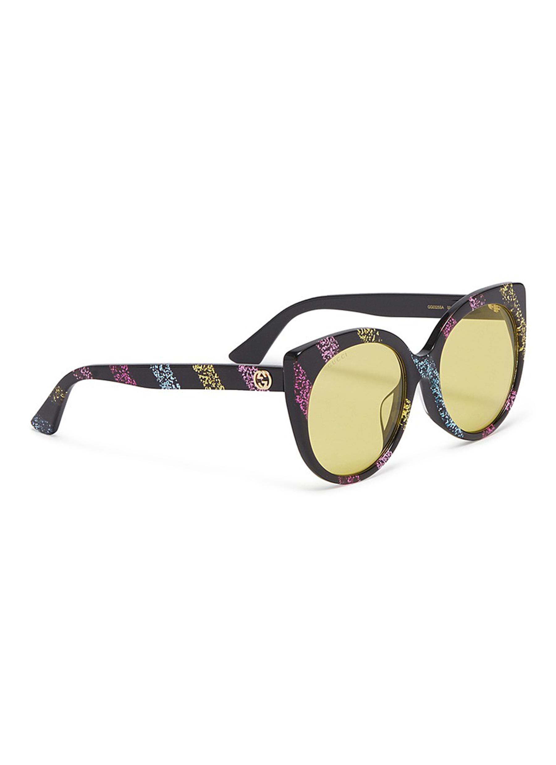 71cc8b71f8d Gucci - Multicolor Glitter Stripe Acetate Cat Eye Sunglasses - Lyst. View  fullscreen