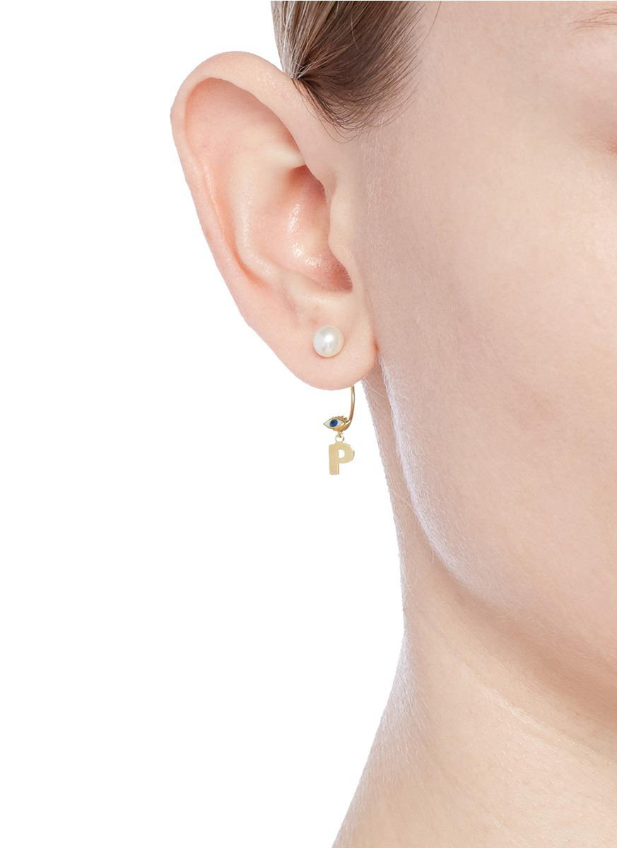 Delfina Delettrez Micro Eye 18kt yellow gold and pearls earring
