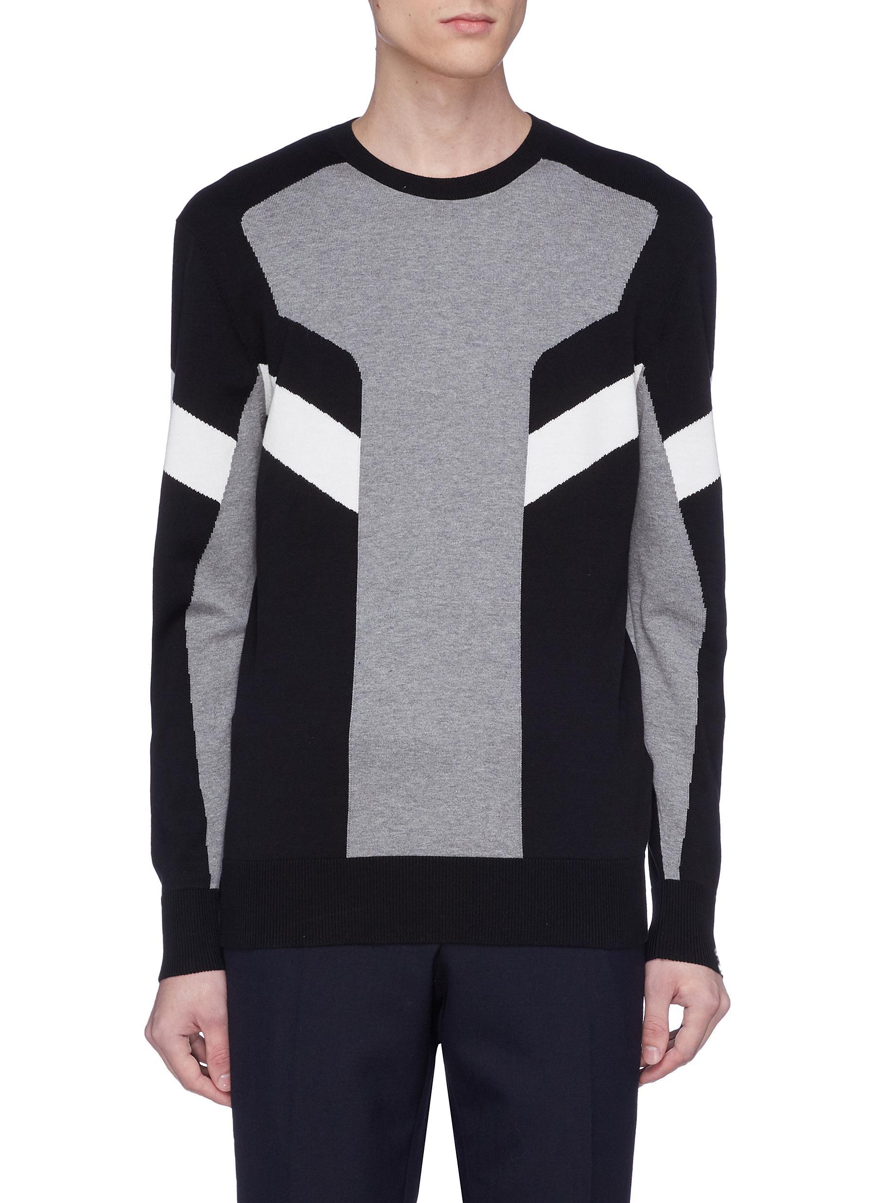 Intarsia Men's Sweater Neil Barrett Geometric Hf7xaq