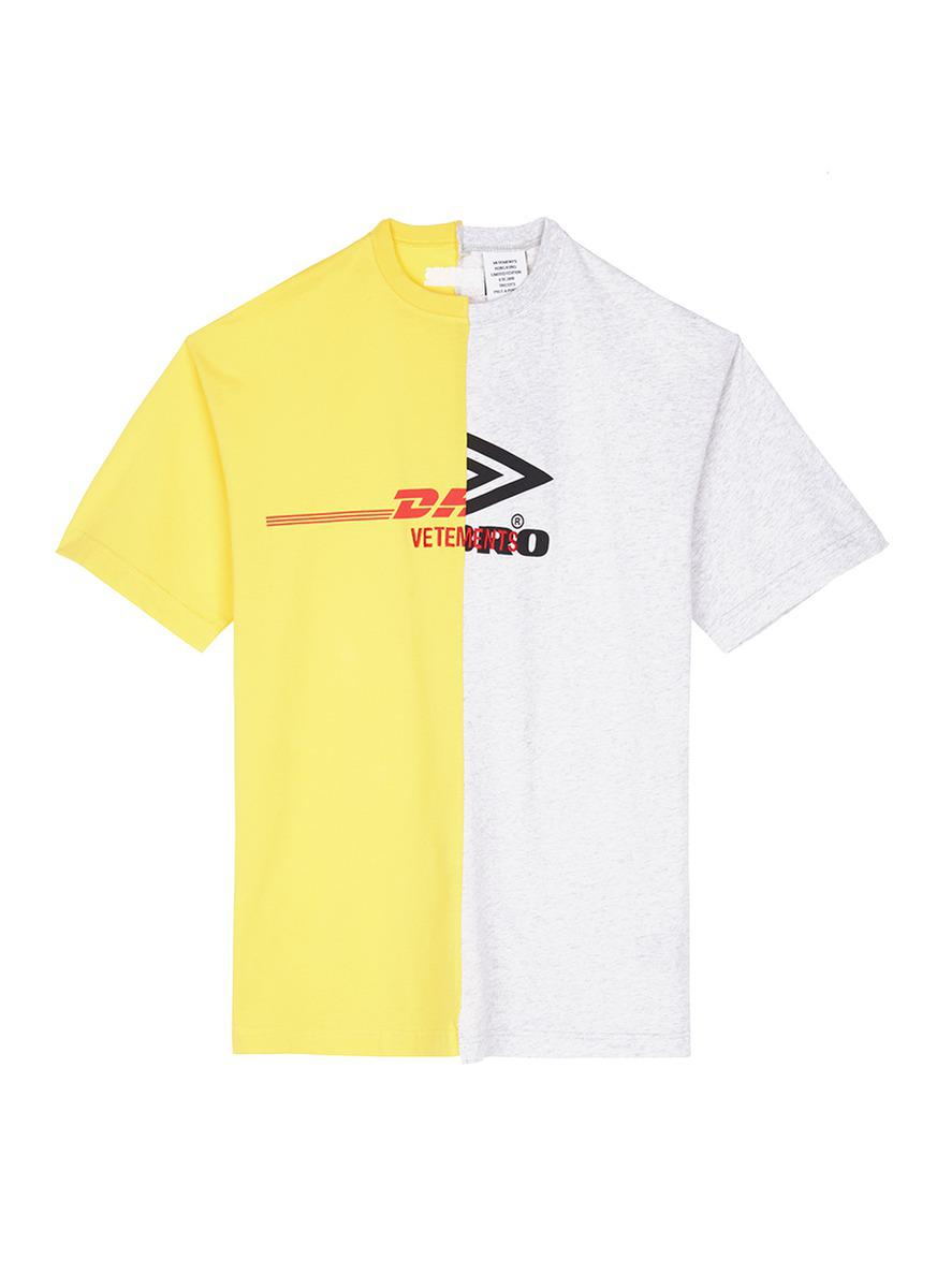 d91c7320 Vetements 'dhl Umbro' Logo Print T-shirt in Yellow for Men - Lyst