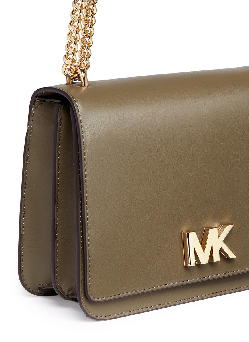 7660cd26cc4a Michael Kors  mott  Large Curb Chain Leather Shoulder Bag - Lyst