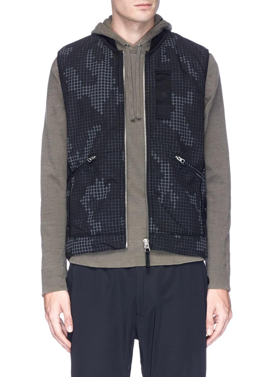 1ba00feee50ac Stone Island Check Grid Camouflage Print Ripstop Vest in Black for ...