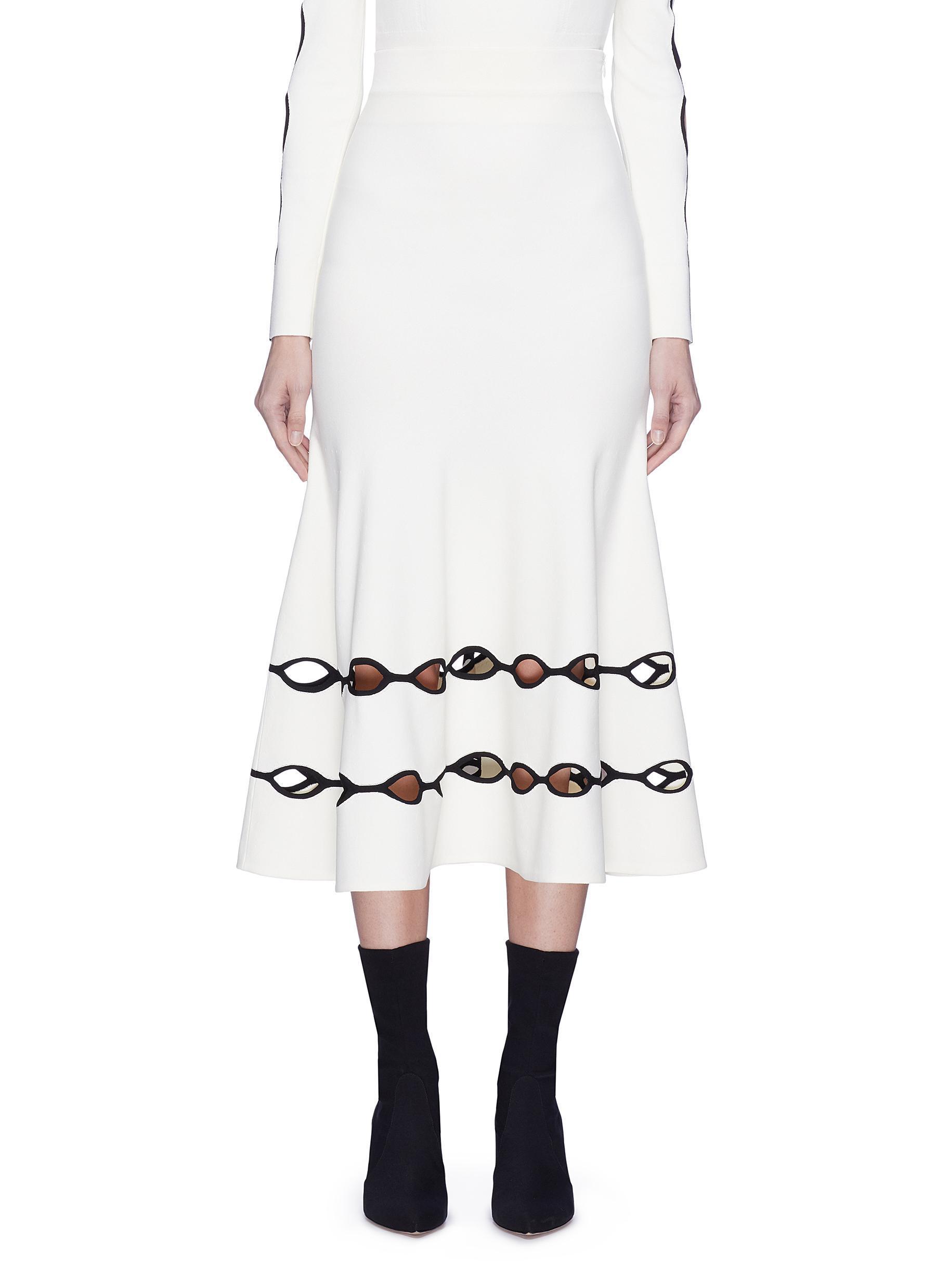 549684d68 Lyst - Alexander McQueen Wavy Cutout Skirt in White