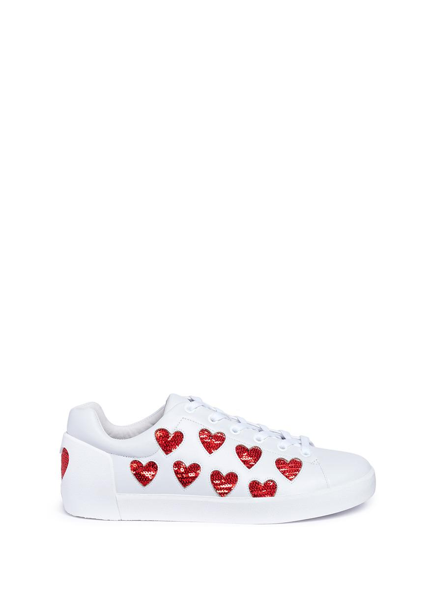 Ash Nikita Sequin Heart Lace Up Sneakers KX29RX3gR