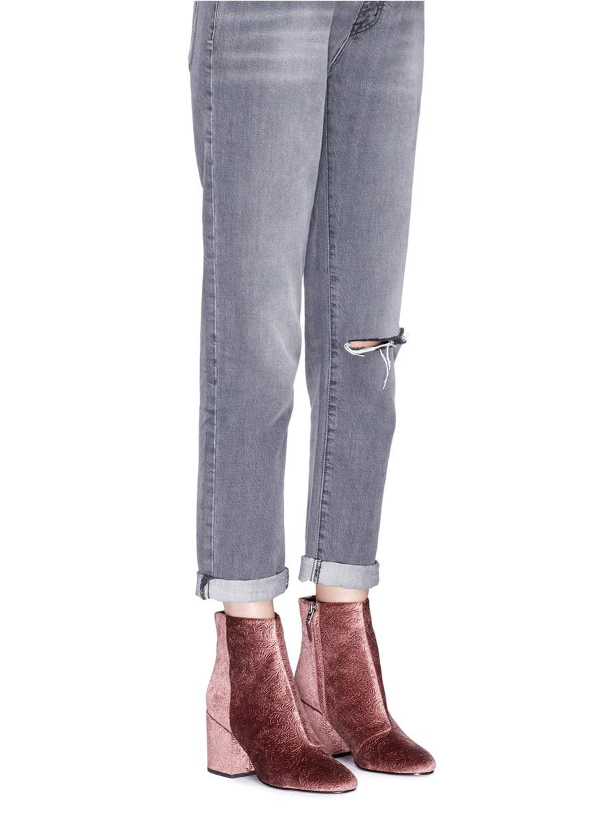 e53ac1eb1fe548 Lyst - Sam Edelman  taye  Floral Jacquard Velvet Ankle Boots in Pink