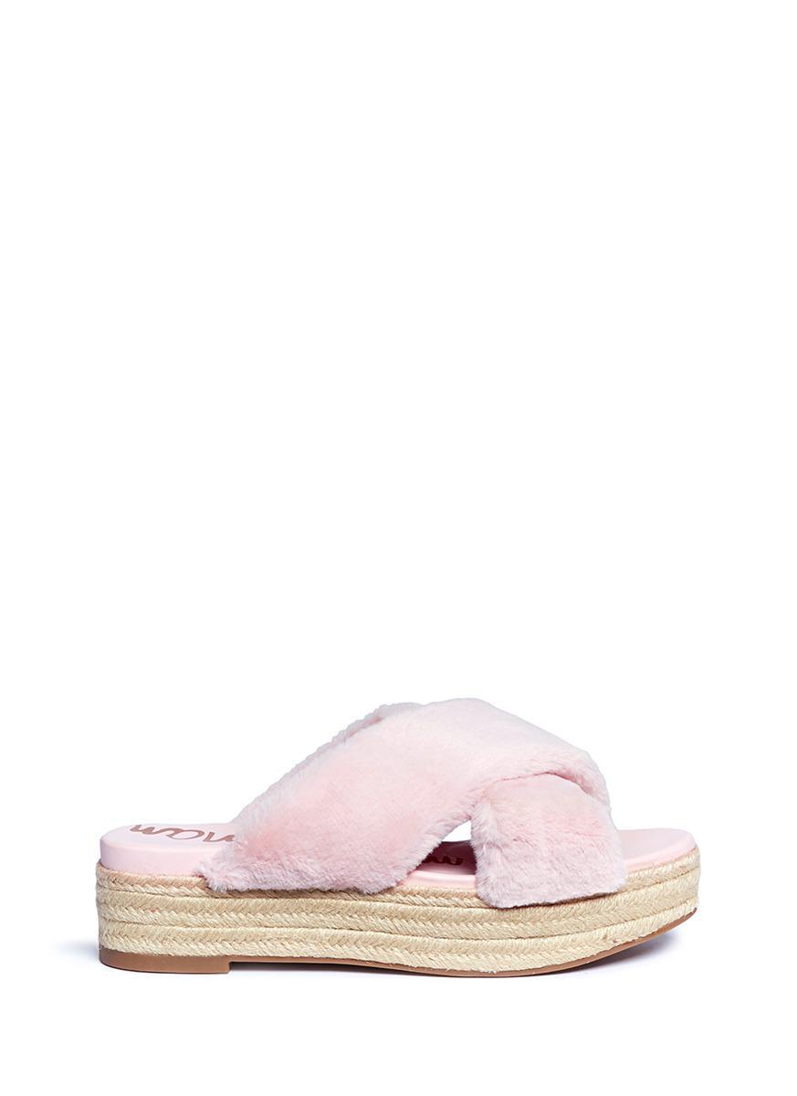 3afa6e91bd0 Lyst - Sam Edelman  zia  Faux Fur Espadrille Platform Sandals in Pink