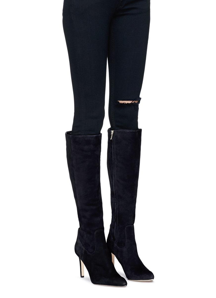 1576cf15240 Lyst - Sam Edelman  olencia  Suede Knee High Boots in Black