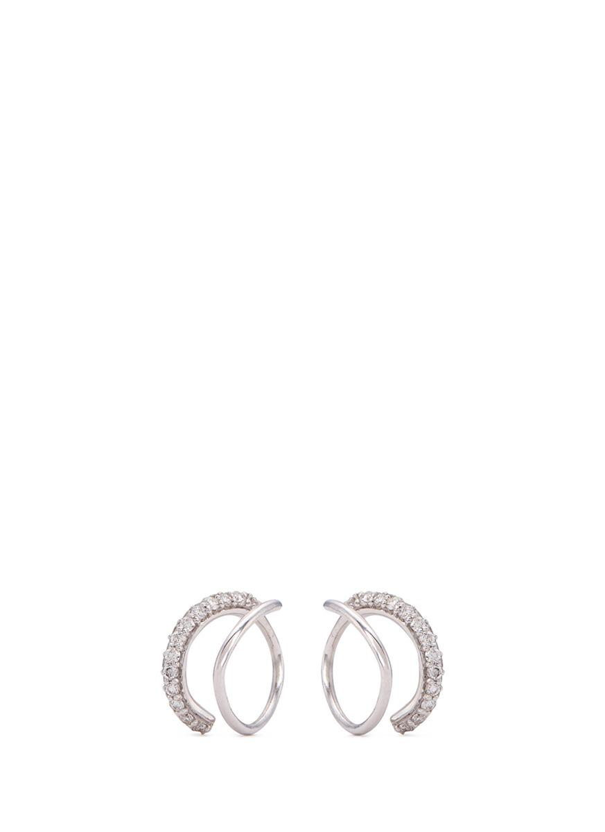 Lynn Ban Double Pave Star Earrings in Metallics xy4BoWP