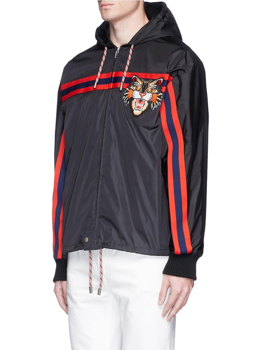 6db2a72122e Gucci  angry Cat  Appliqué Windbreaker Jacket for Men - Lyst
