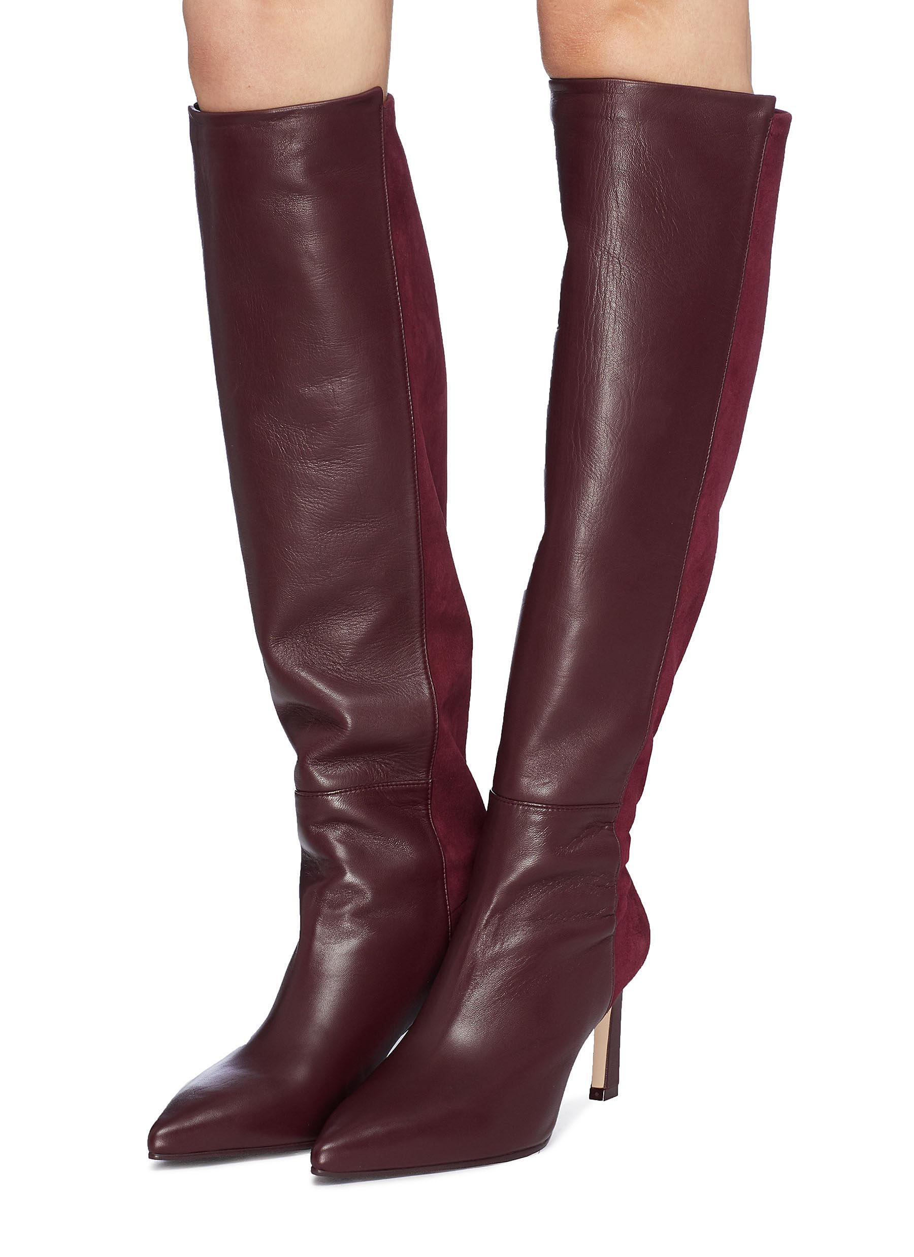 11667aed8c89 Lyst - Stuart Weitzman  demi  Stretch Suede Back Leather Knee High Boots