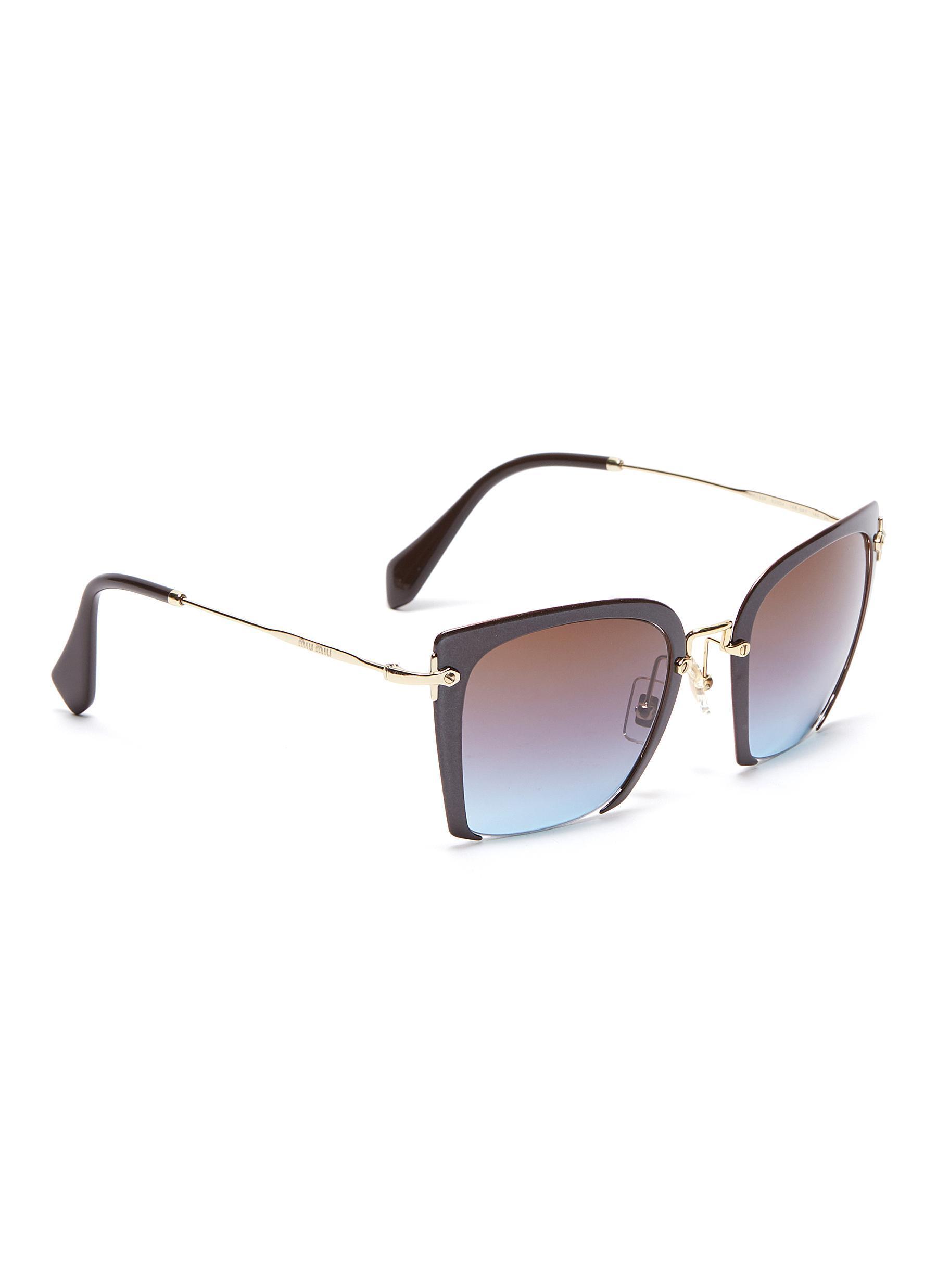 41018f8c6f7 Miu Miu - Brown Cutout Acetate Front Metal Square Sunglasses - Lyst. View  fullscreen