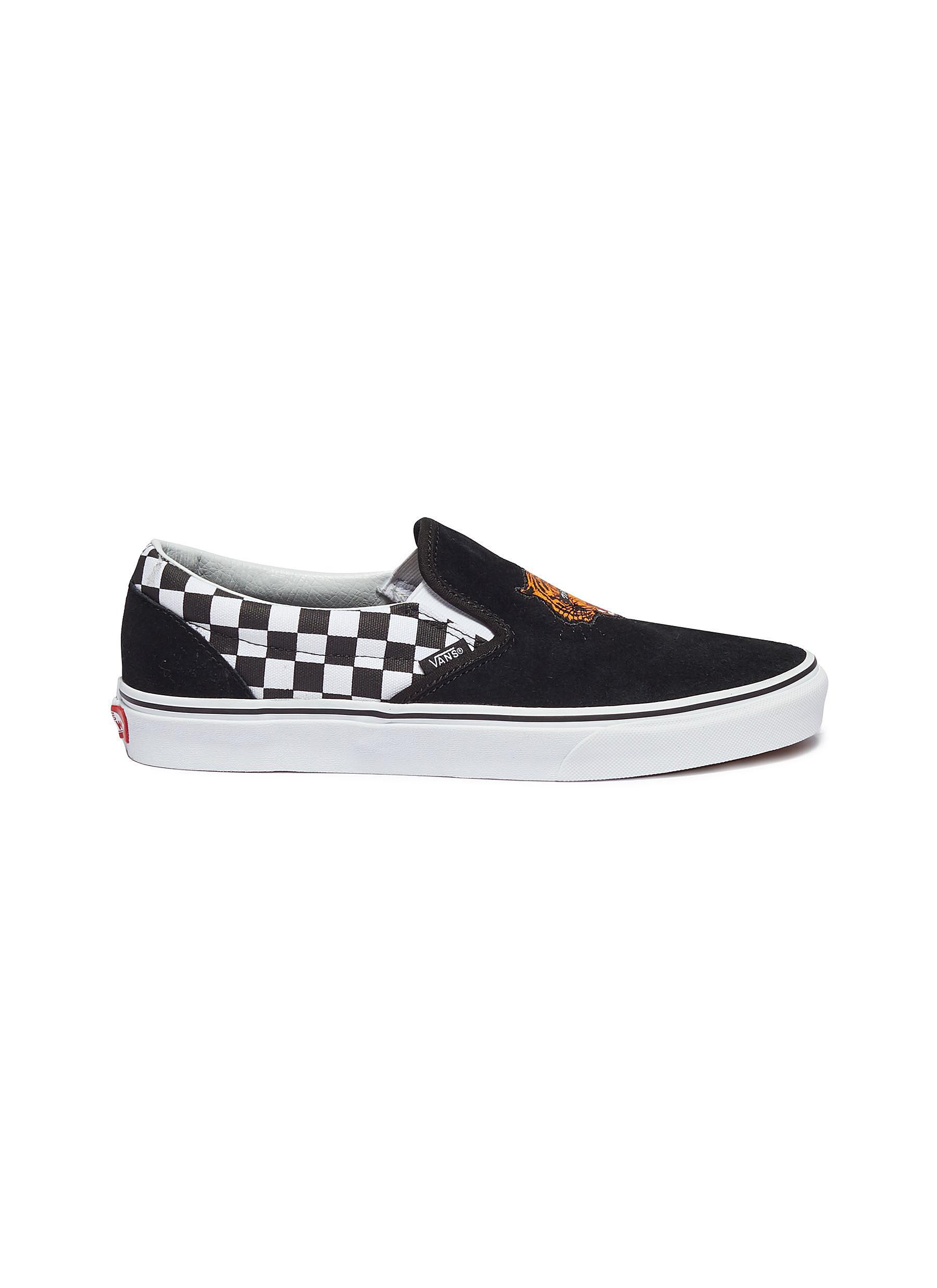 41c93c2a49a Vans. Men s Black  classic Slip-on  Tiger Embroidered Checkerboard ...