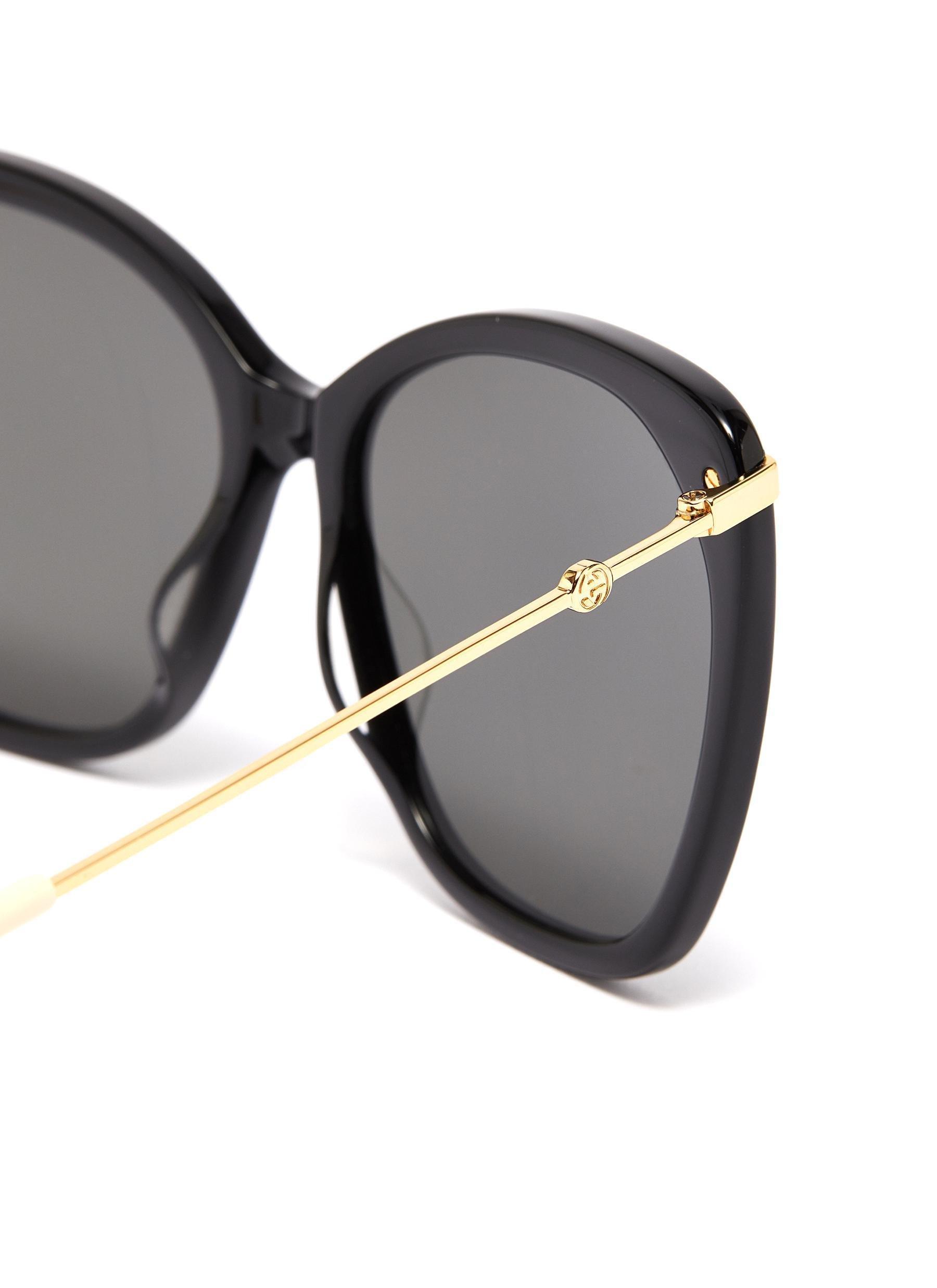 133edbfaade7 Gucci - Black Metal Temple Oversized Acetate Butterfly Sunglasses - Lyst.  View fullscreen