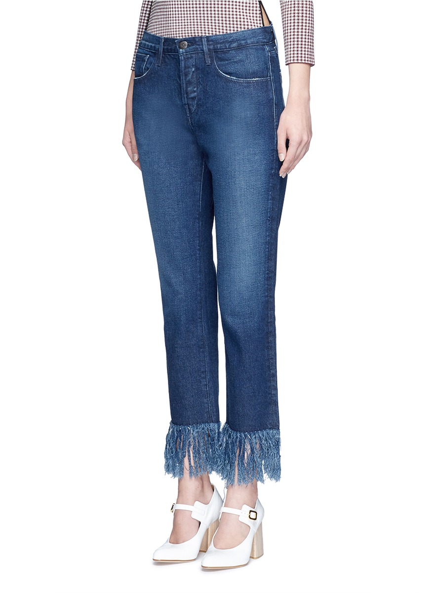 3x1 Wm3 Fringe Cuff Cropped Jeans In Blue Lyst