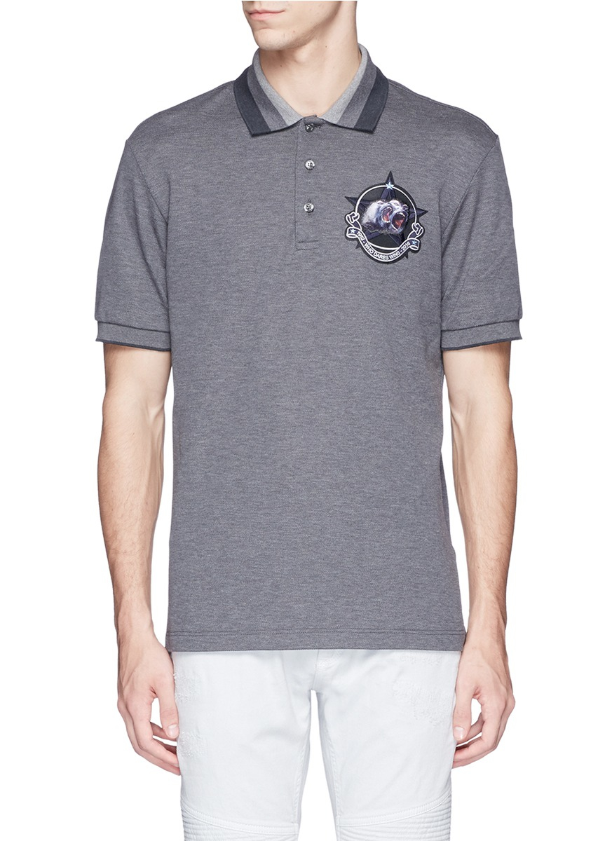 Givenchy star monkey patch embroidery polo shirt in gray
