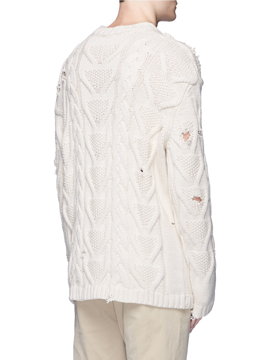 Lyst Palm Angels Distressed Cotton Cable Knit Fisherman