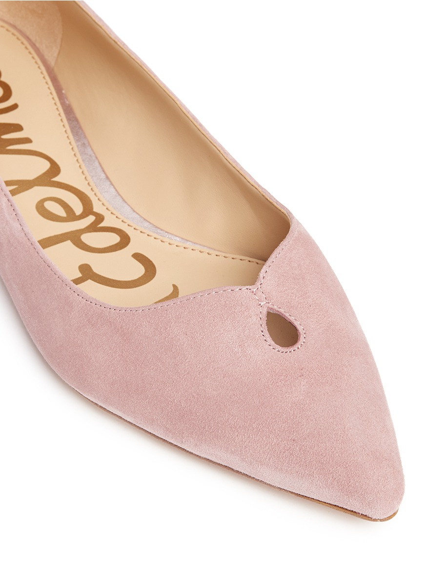 538ad7dc733262 Lyst - Sam Edelman  ruby  Keyhole Vamp Suede Skimmer Flats in Pink