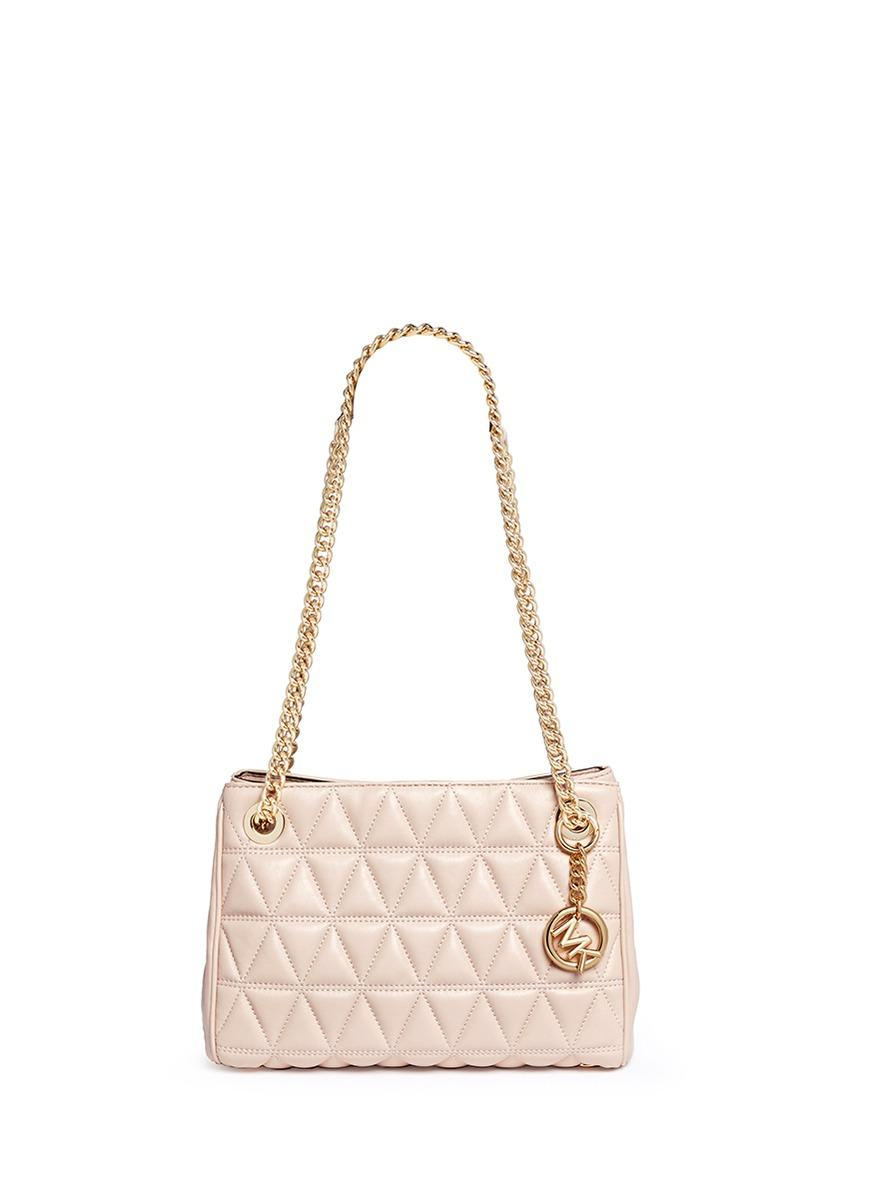 b1269d1aea5b Michael Kors 'scarlett' Medium Quilted Leather Chain Satchel in Pink ...