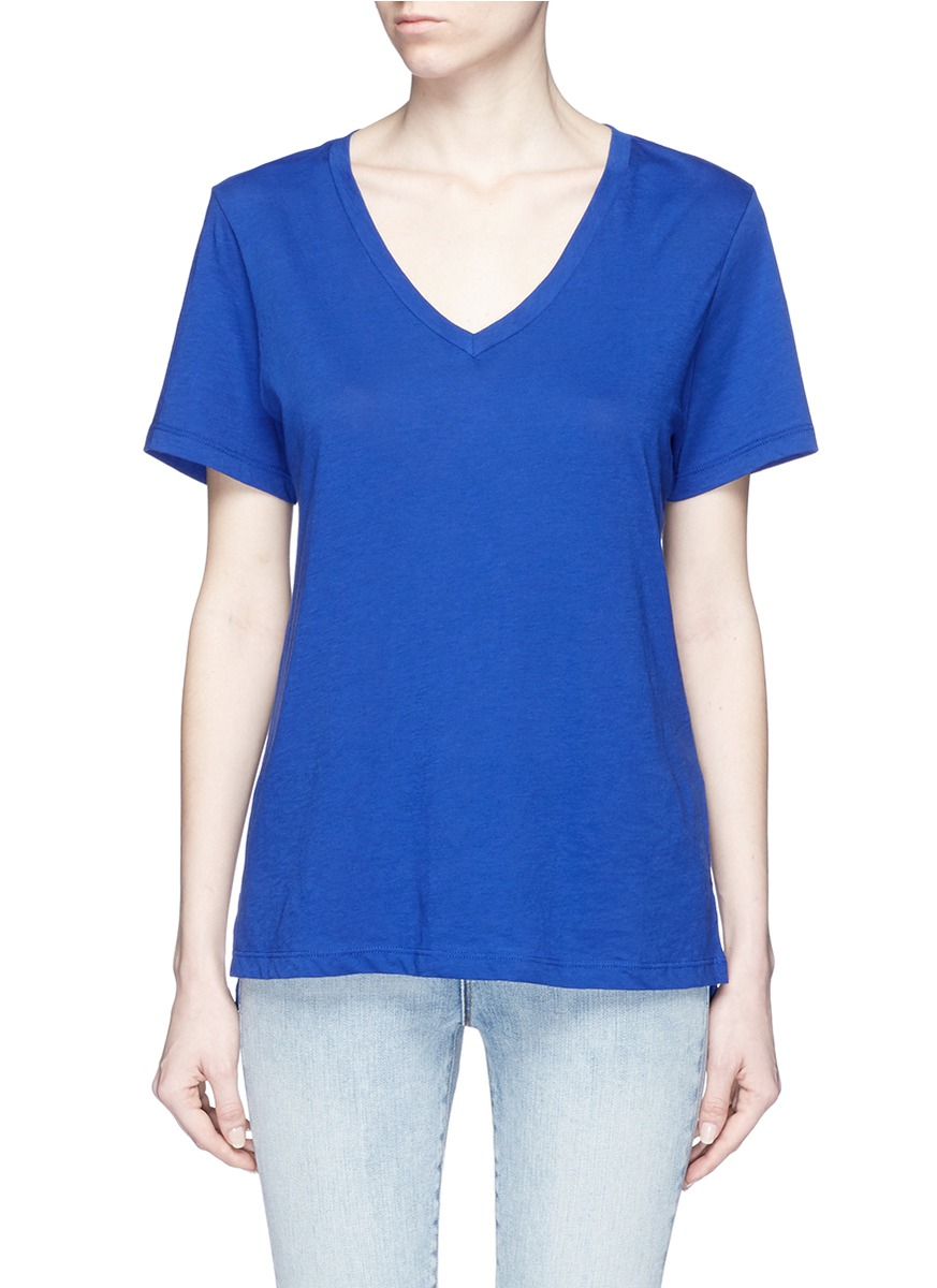 Vince Pima Cotton Relaxed V Neck T Shirt In Blue Lyst