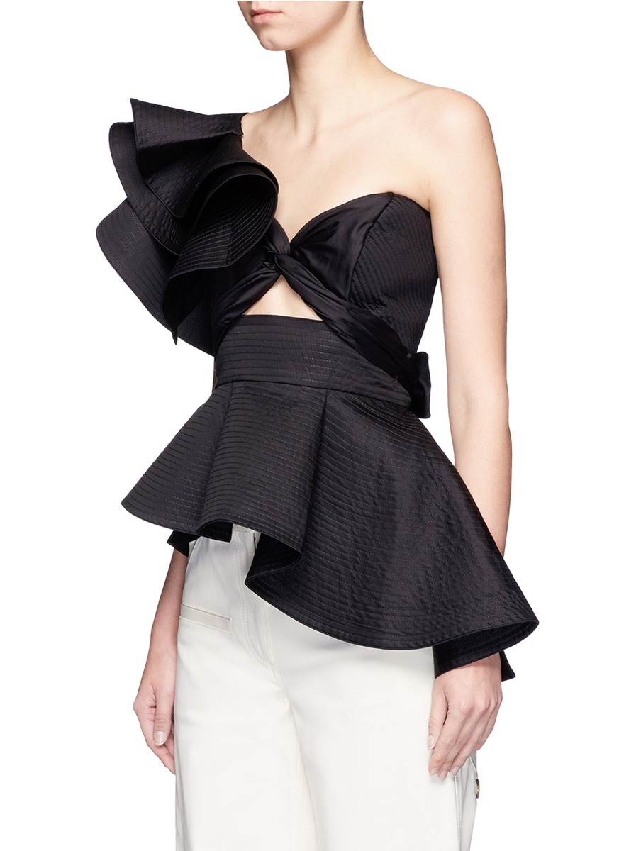6ea39f7ad152ec Johanna Ortiz Maria De Medici' Ruffle One-shoulder Peplum Top in Black -  Lyst