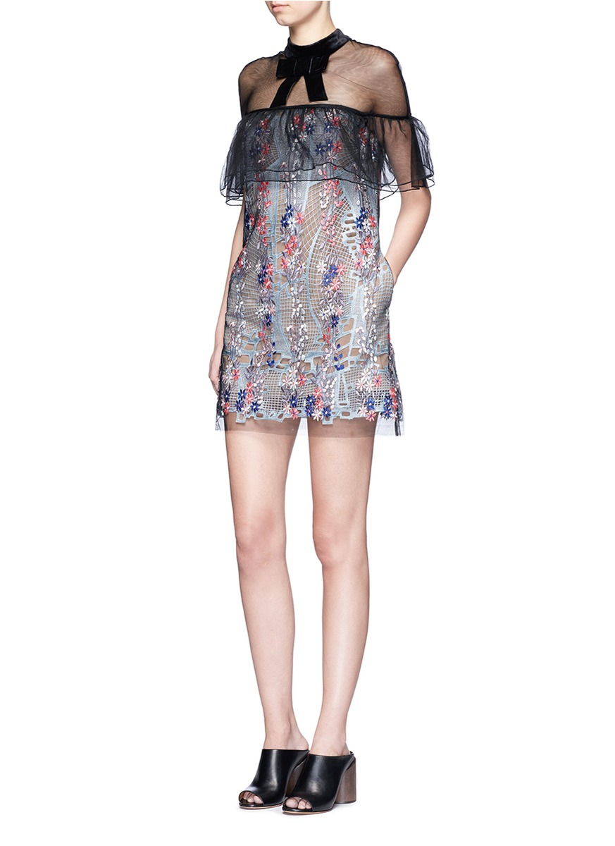 Floral-embroidered tulle midi dress Self Portrait yVsWp3X