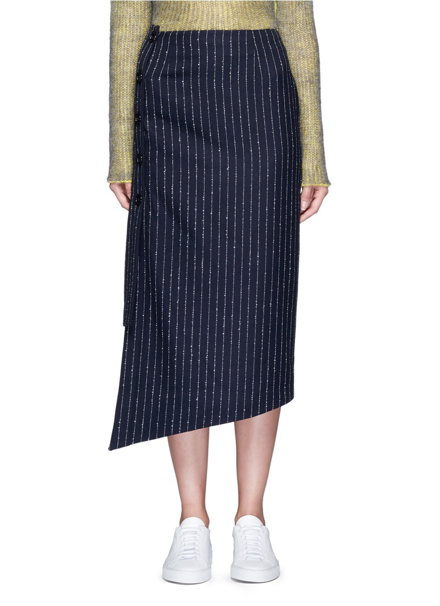lyst acne studios 39 pate 39 pinstripe pencil wrap skirt in blue. Black Bedroom Furniture Sets. Home Design Ideas