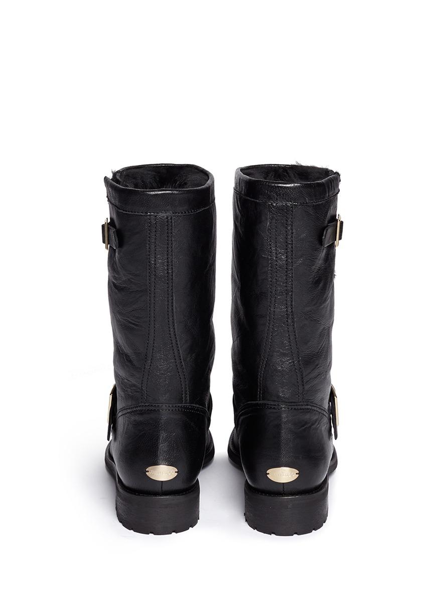 fd503038053 Lyst - Jimmy Choo  biker  Rabbit Fur Leather Boots in Black