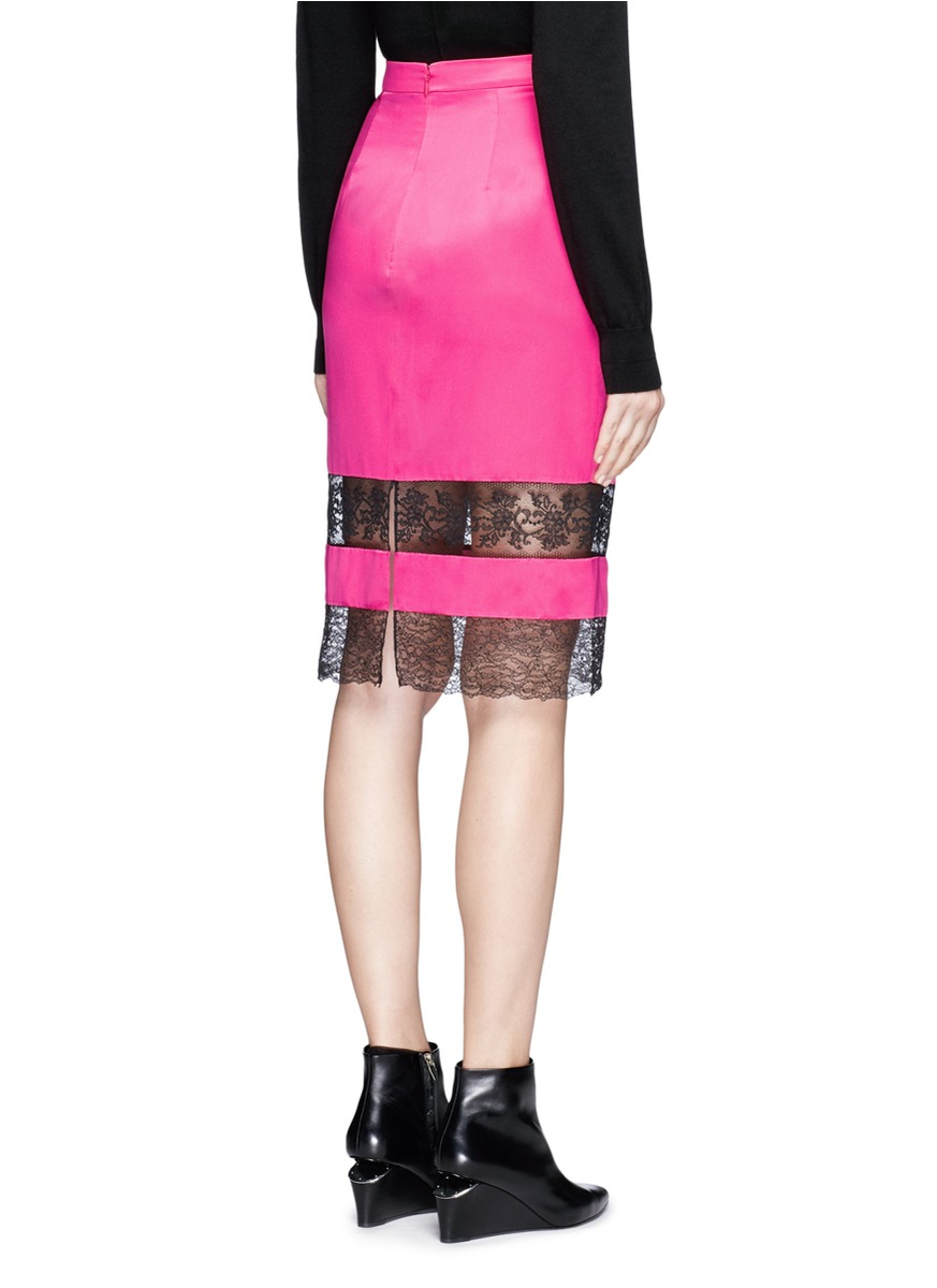 givenchy floral lace insert silk satin pencil skirt in