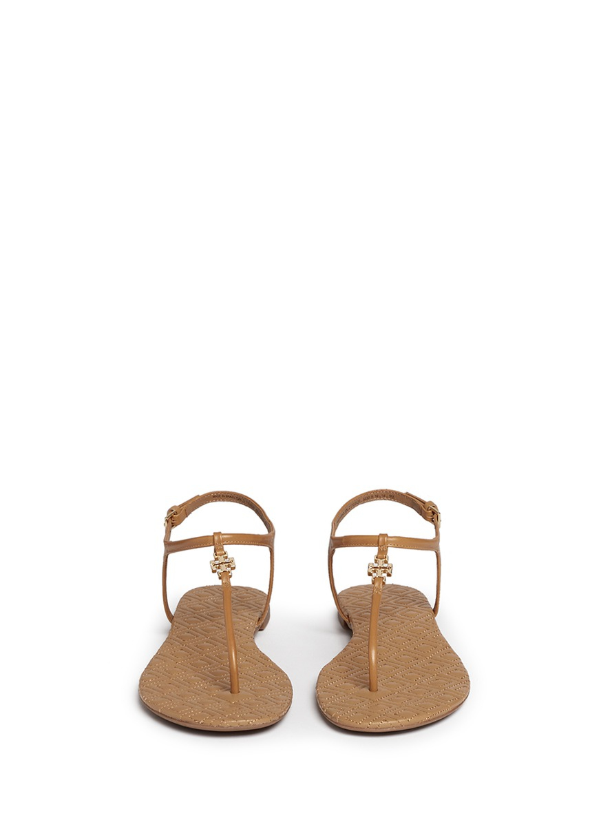 9918c132c634 Tory Burch  marion  Quilted Leather T-strap Sandals in Natural - Lyst
