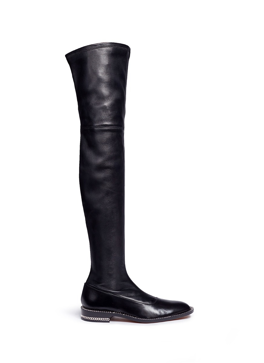 givenchy chain trim heel leather thigh high boots in black
