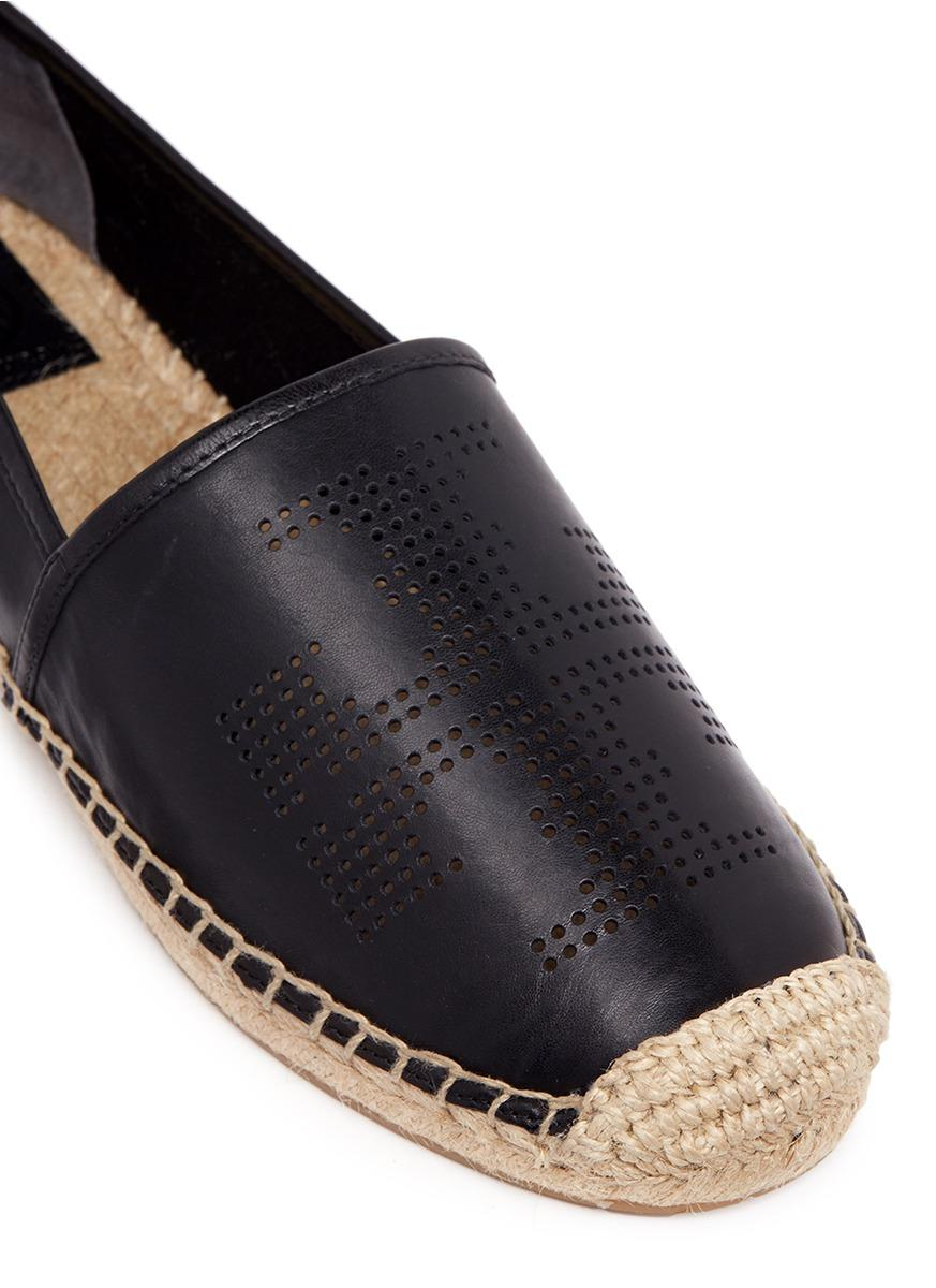 Tory Burch Perforated Logo Leather Espadrilles In Black Lyst