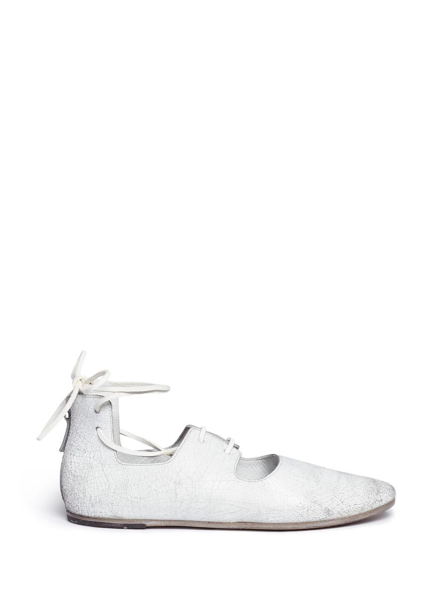 21598355f26c Lyst - Marsèll Cracked Leather Lace-up Ballet Flats in White