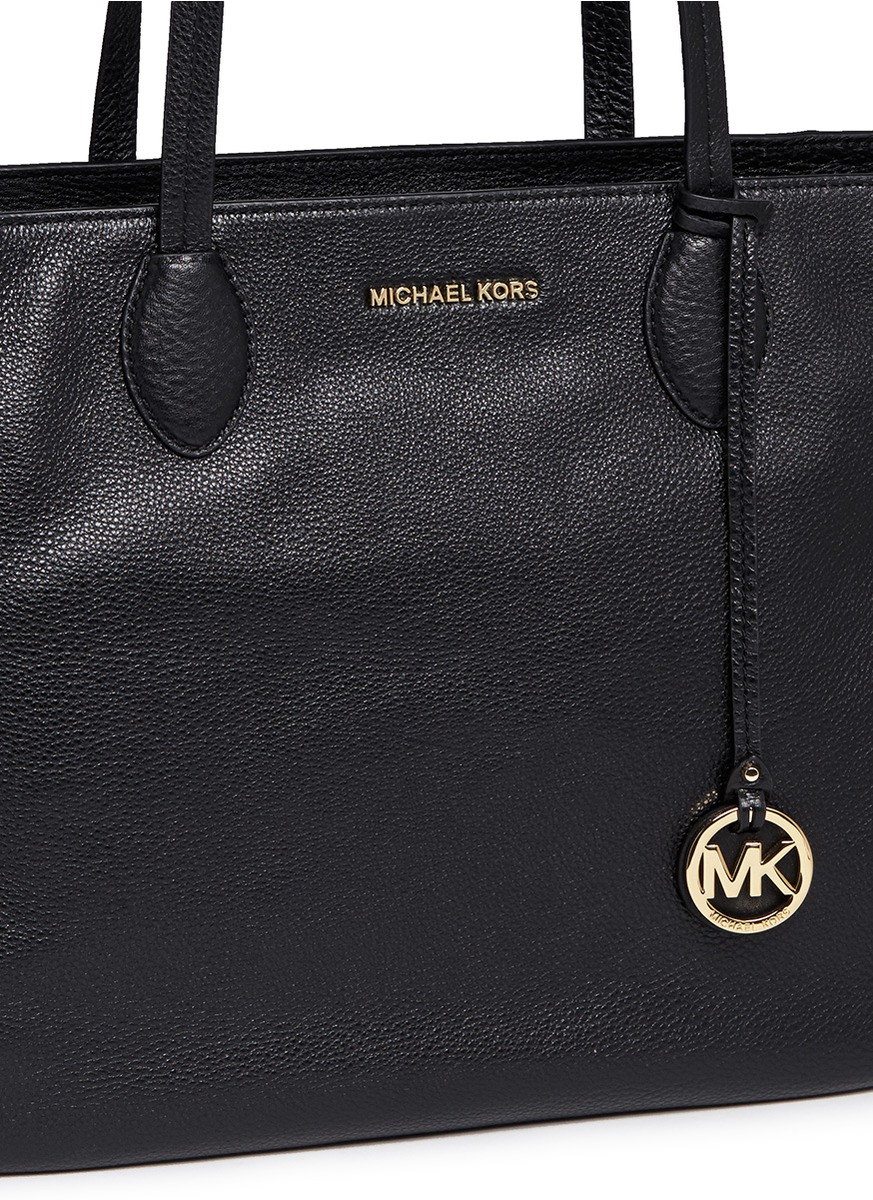 0e2087e0f563 Michael Kors 'ani' Large Top Zip Pebbled Leather Tote in Black - Lyst