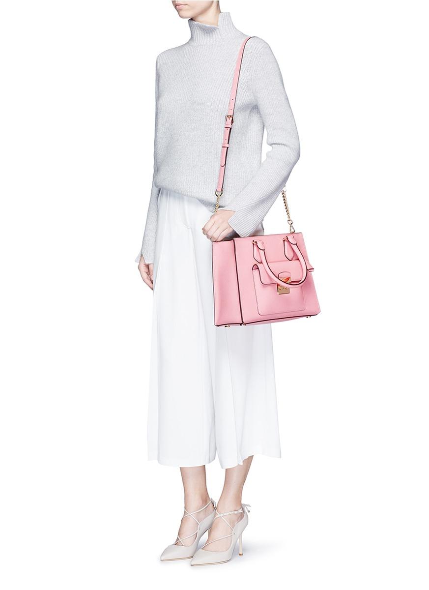241aa62f1ccb Michael Kors 'bridgette' Medium Saffiano Leather Tote in Pink - Lyst