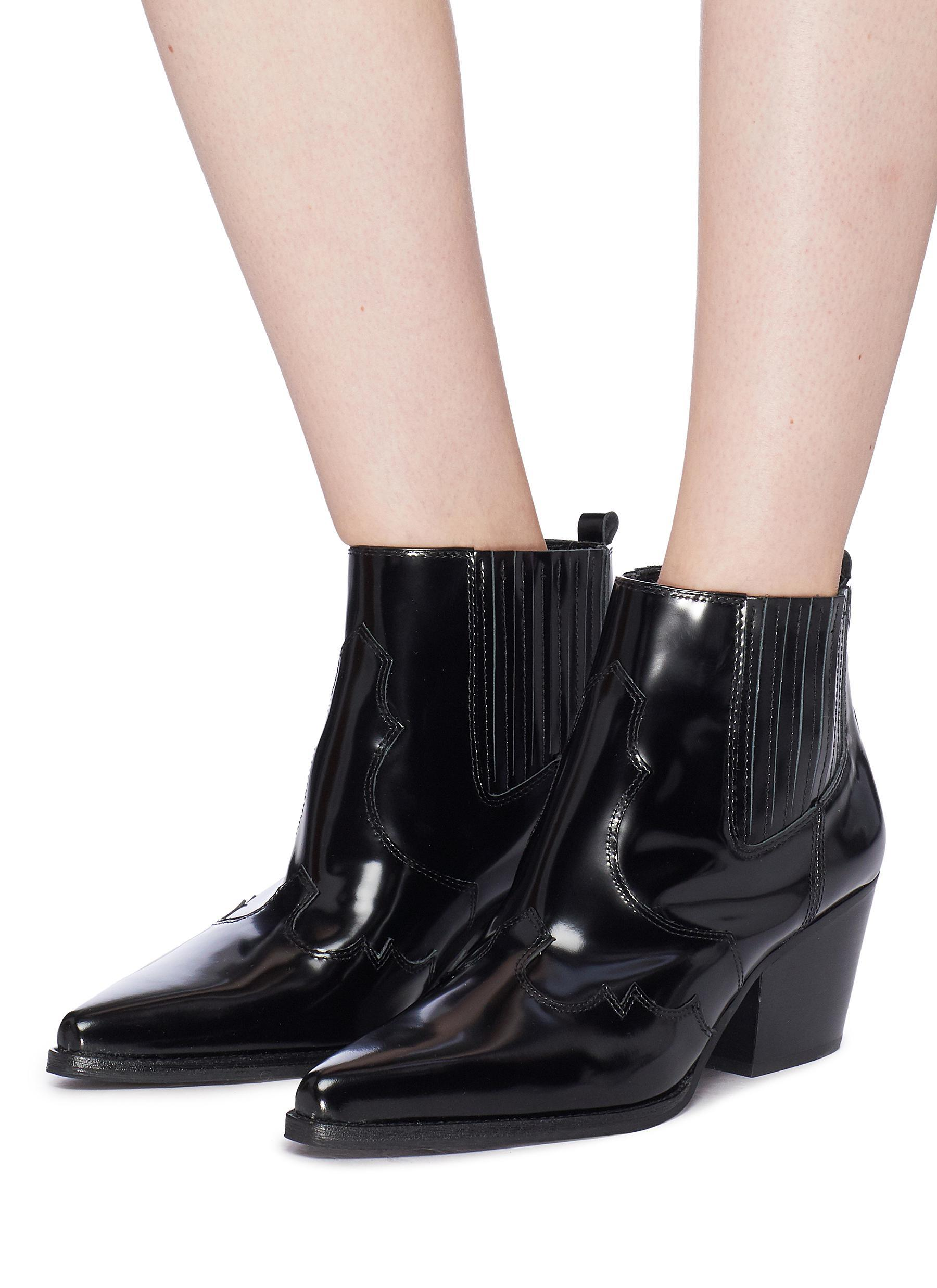 5d76d6c47277 Lyst - Sam Edelman  winona  Patent Leather Panelled Ankle Boots in Black