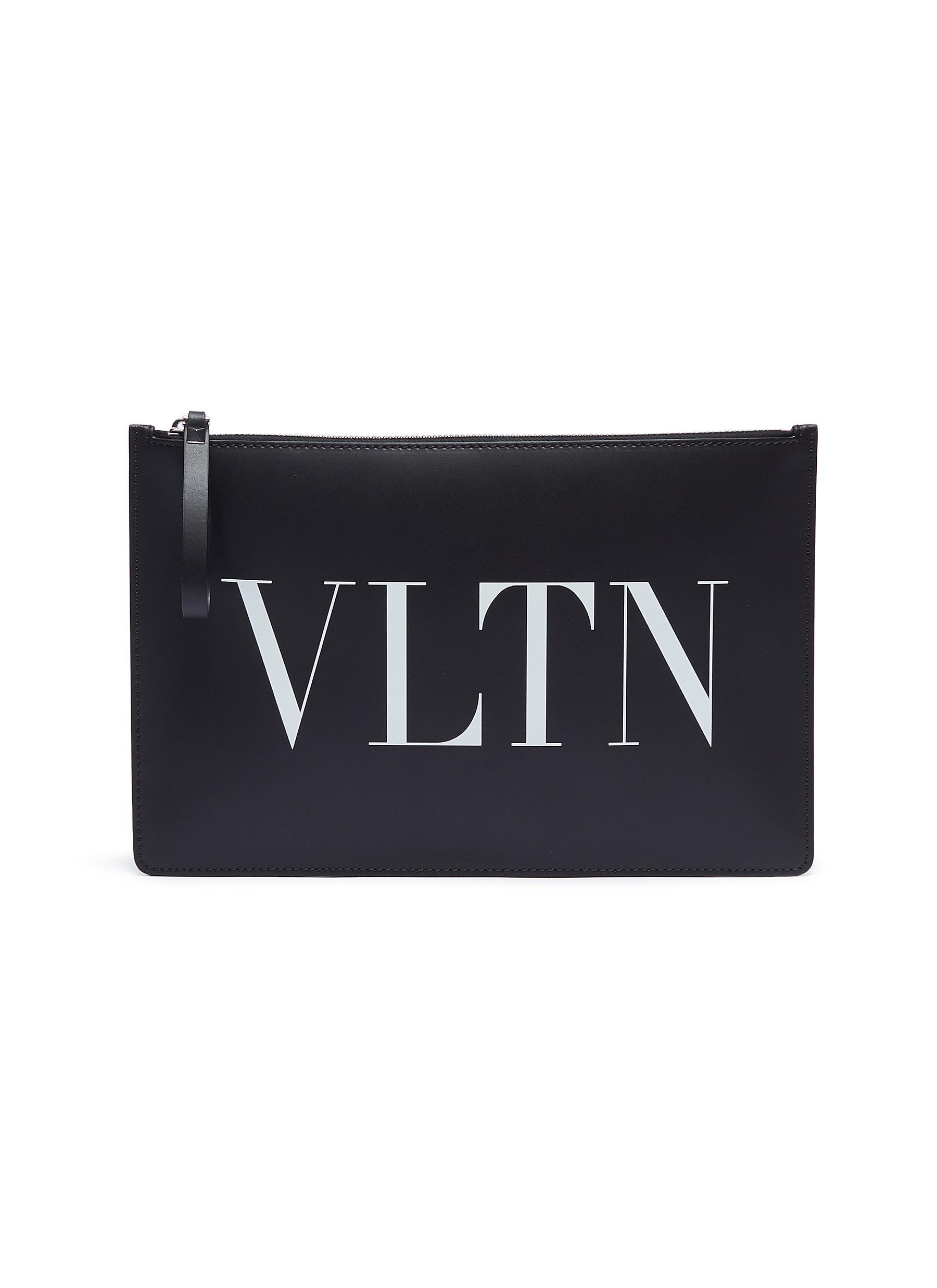 6ac77399e6f9 Valentino - Black Logo Print Leather Zip Pouch for Men - Lyst. View  fullscreen