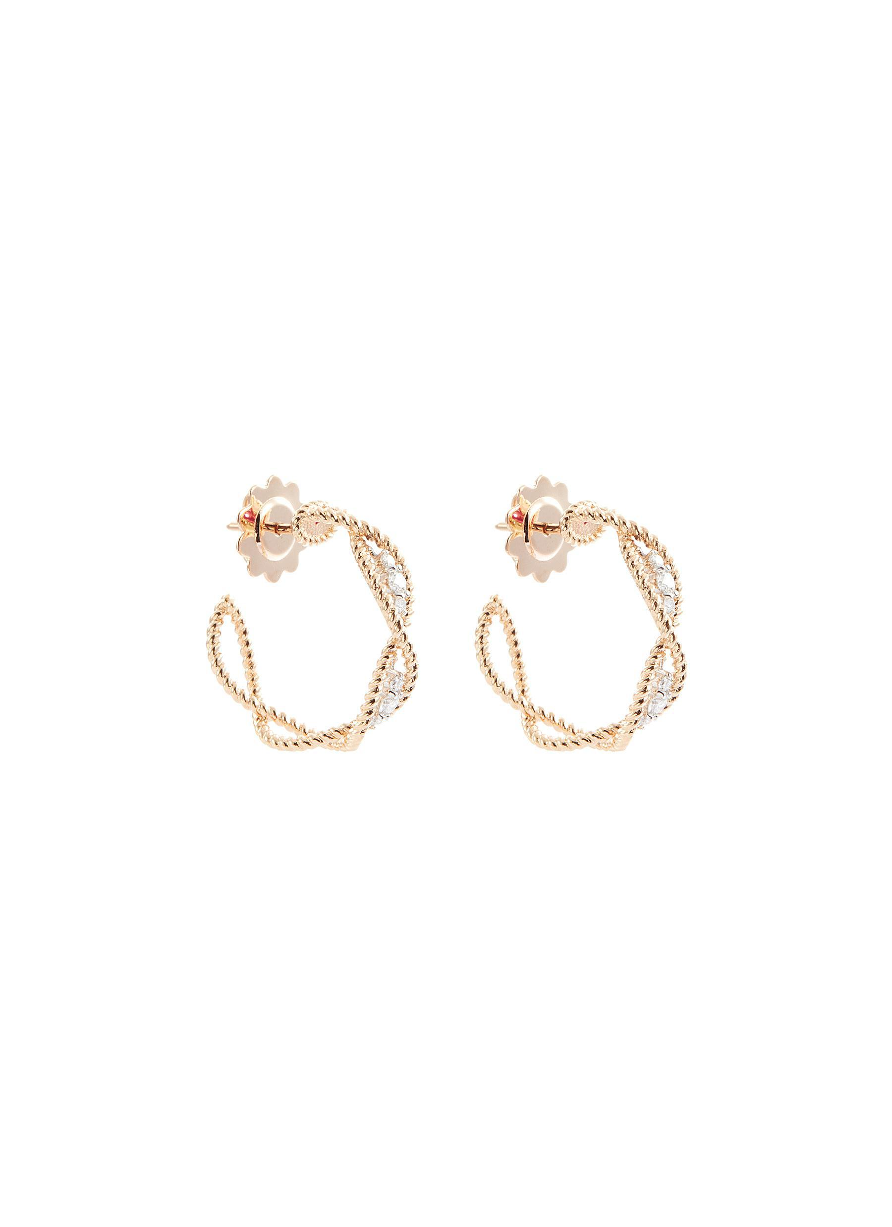 3813909ced70f Lyst - Roberto Coin 'new Barocco' Diamond 18k Rose Gold Hoop ...
