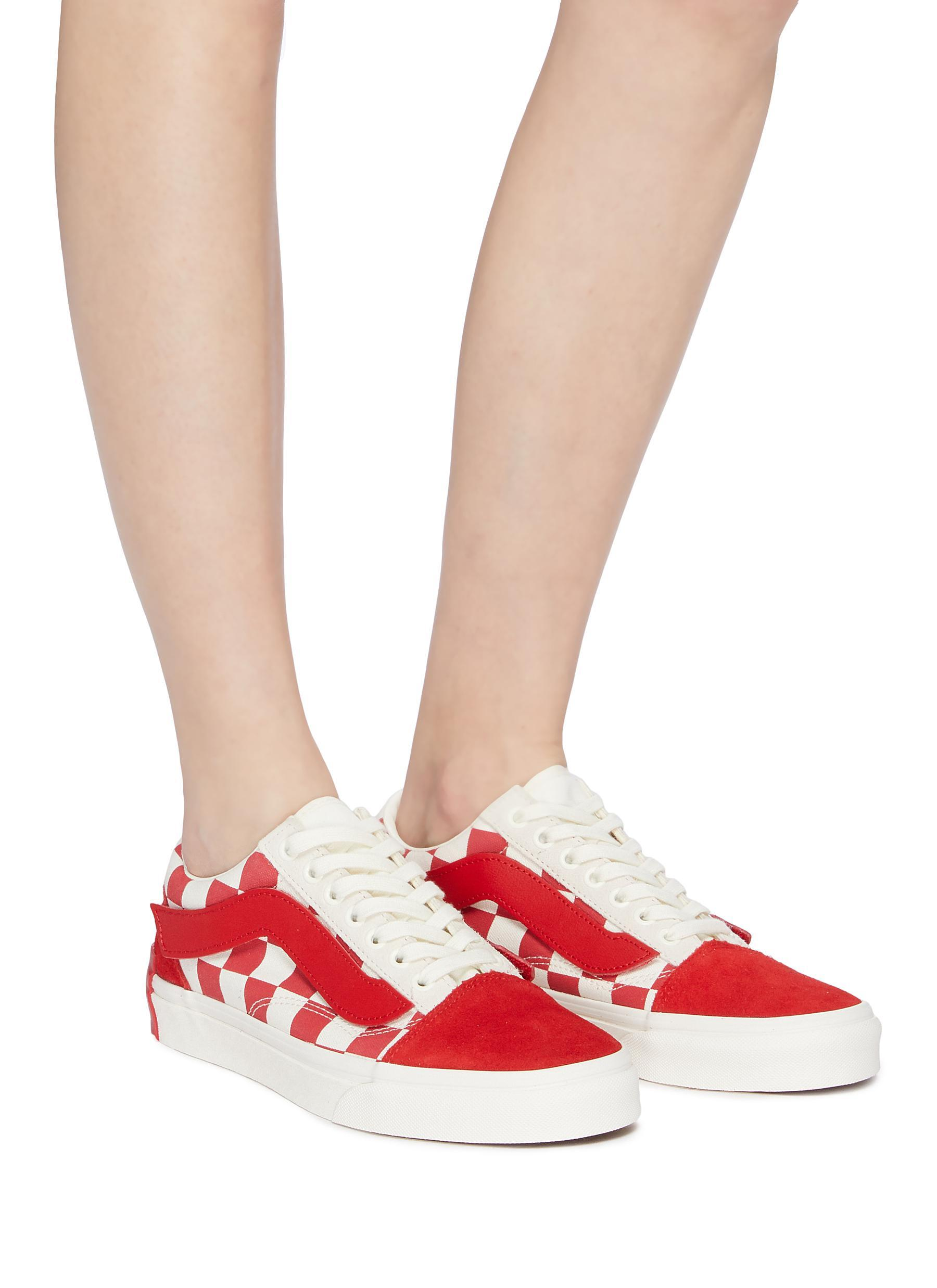 723009739fde Vans - Red X Purlicue  old Skool  Checkerboard Canvas Skate Sneakers for  Men -. View fullscreen