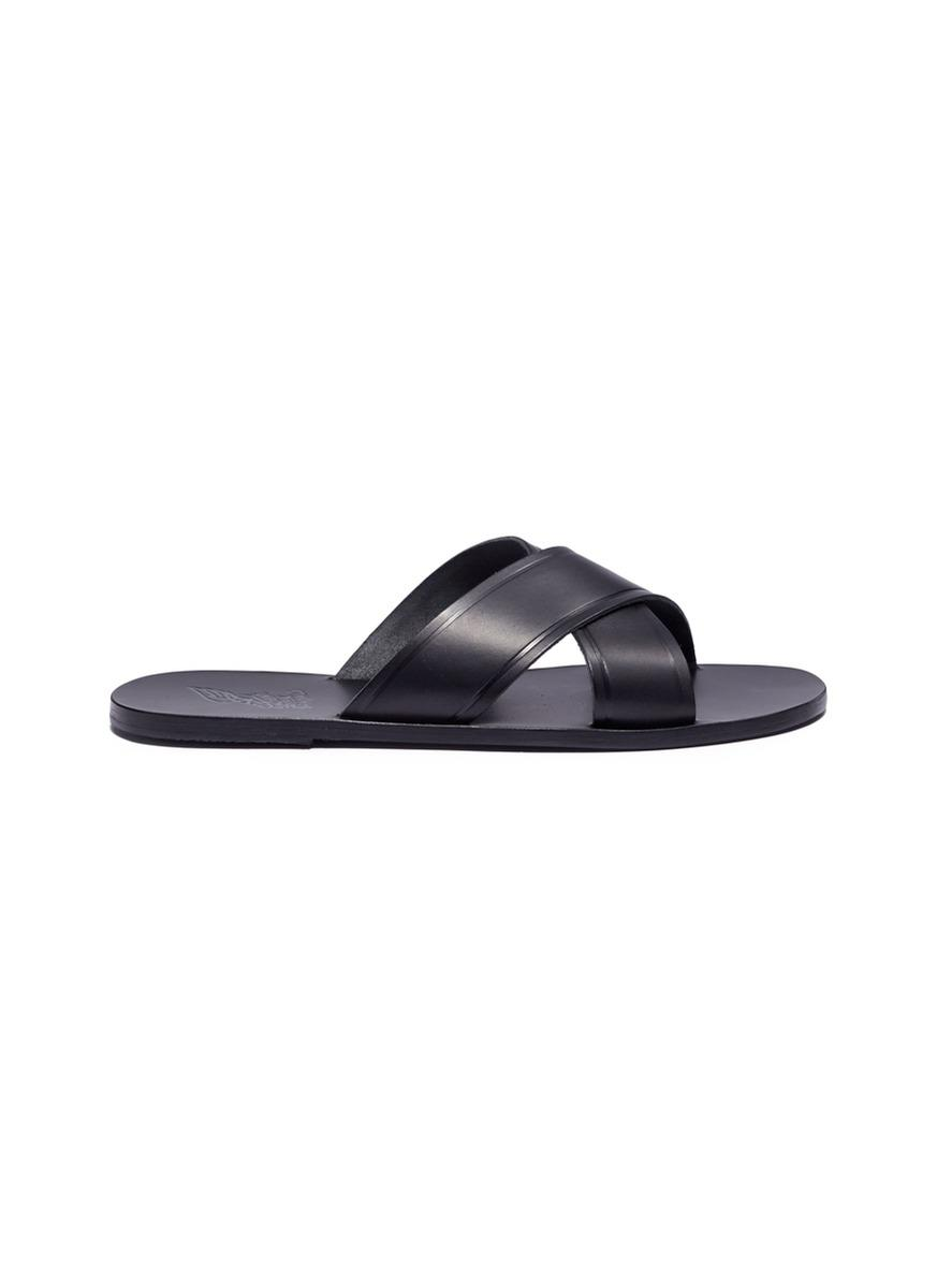 Kritonas cross-over strap leather slides Ancient Greek Sandals hnOEB