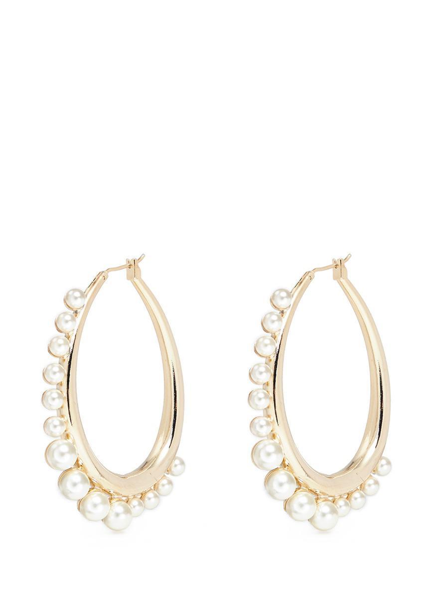 Anton Heunis gold plated pearl hoop earrings - Metallic nZ2B3