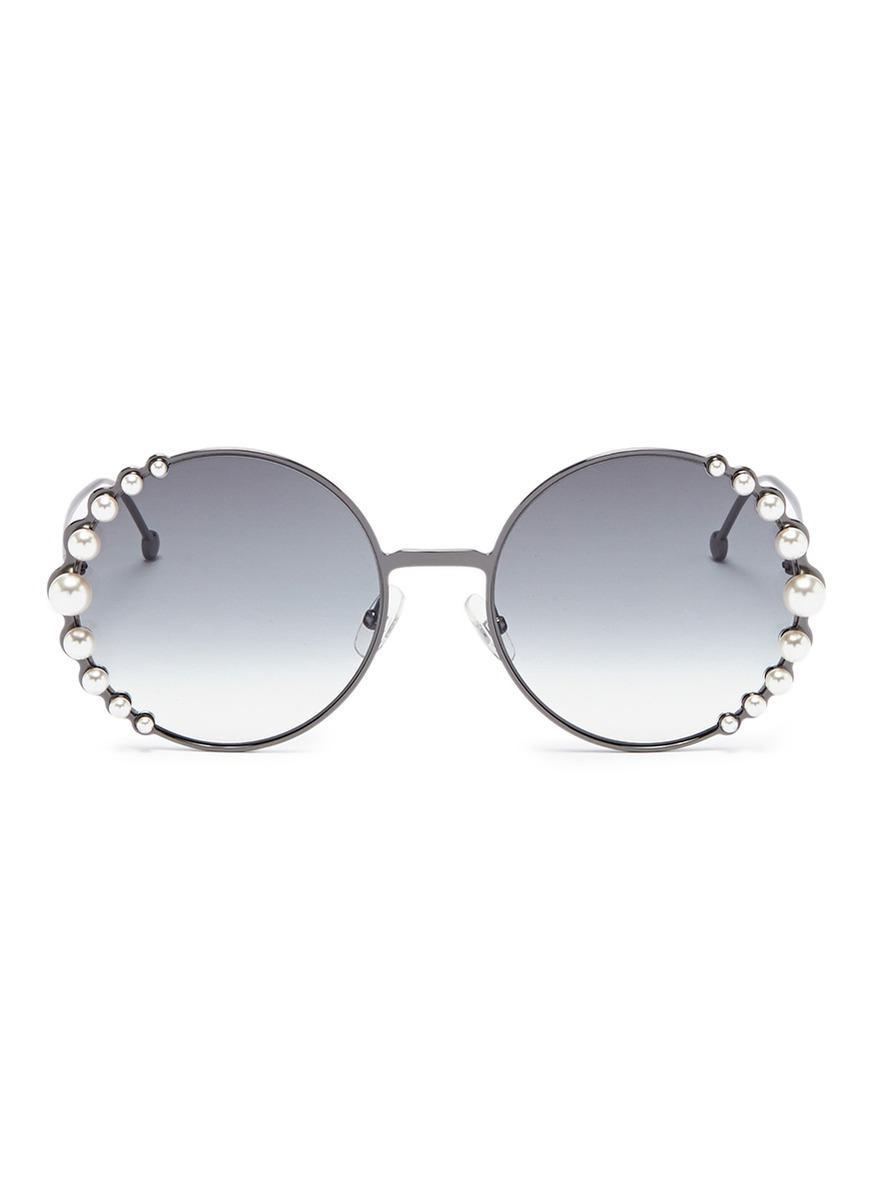 10f566a30c8 Lyst - Fendi  ribbons And Pearls  Oversized Metal Round Sunglasses